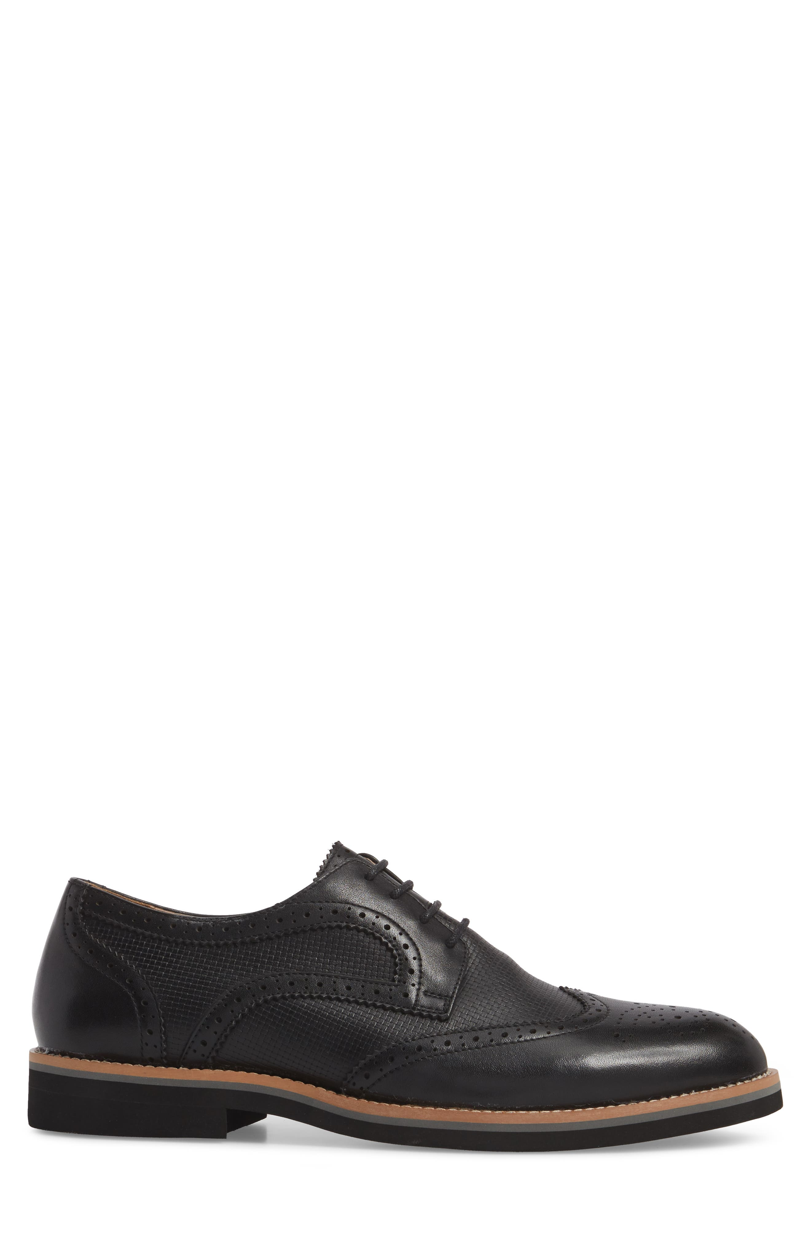 Cleave Embossed Wingtip,                             Alternate thumbnail 3, color,                             BLACK LEATHER
