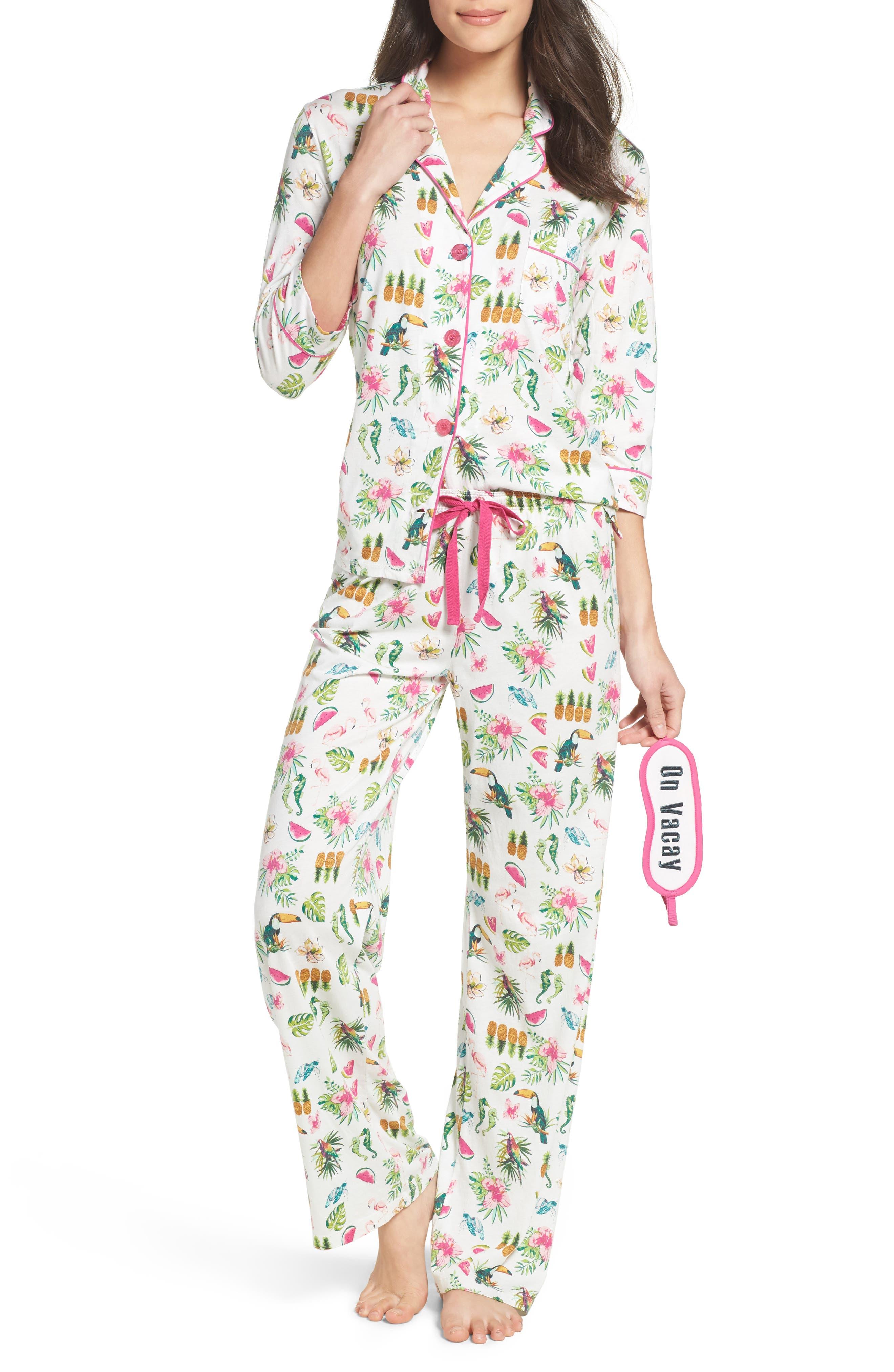 Playful Print Pajamas & Eye Mask,                             Main thumbnail 5, color,
