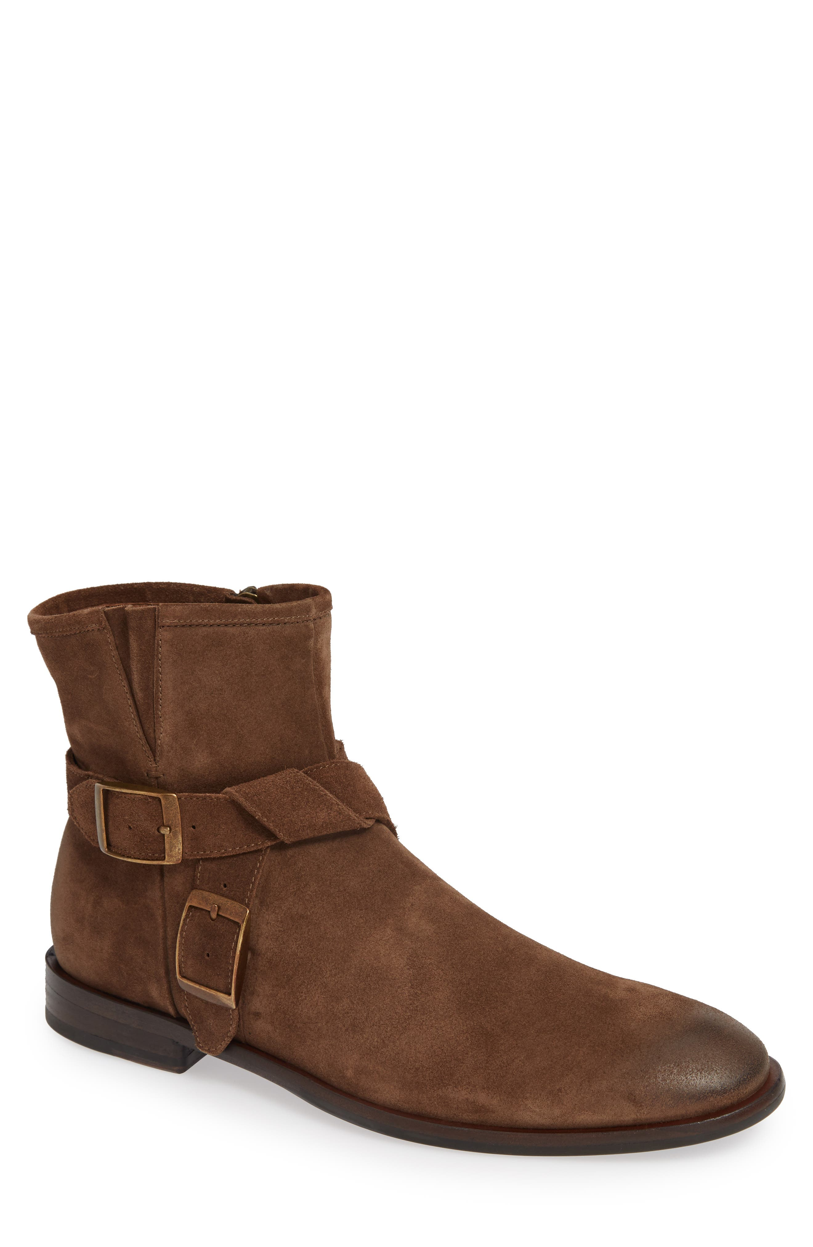 John Varvatos NYC Double Buckle Tall Boot,                             Main thumbnail 1, color,                             ANTIQUE BROWN SUEDE