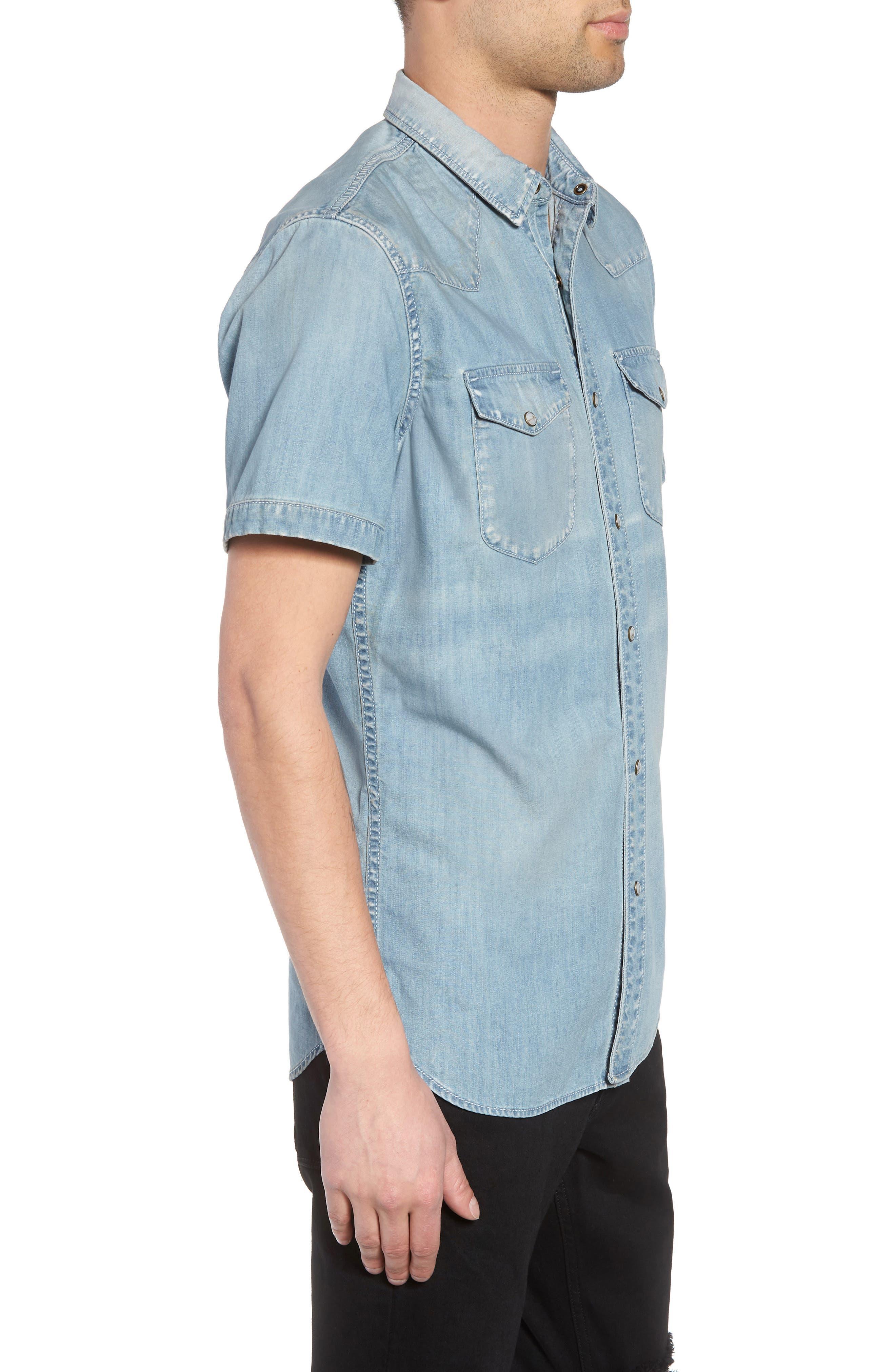 Slim Fit Western Denim Shirt,                             Alternate thumbnail 3, color,                             BLUE LIGHT VINTAGE WASH