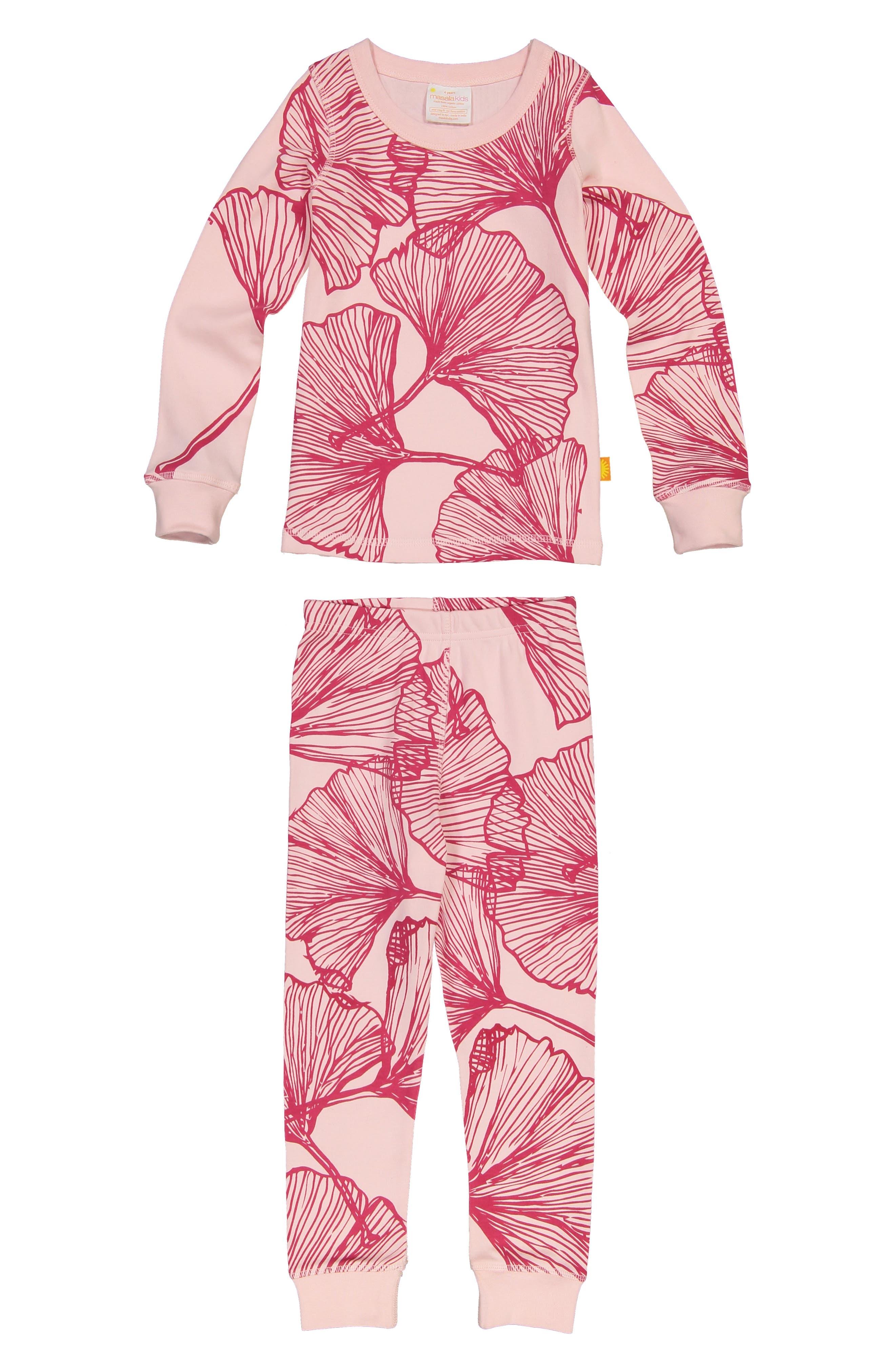 Toddler Girls Masala Baby Ginkgo Print Organic Cotton Fitted TwoPiece Pajamas Size 3Y  Pink