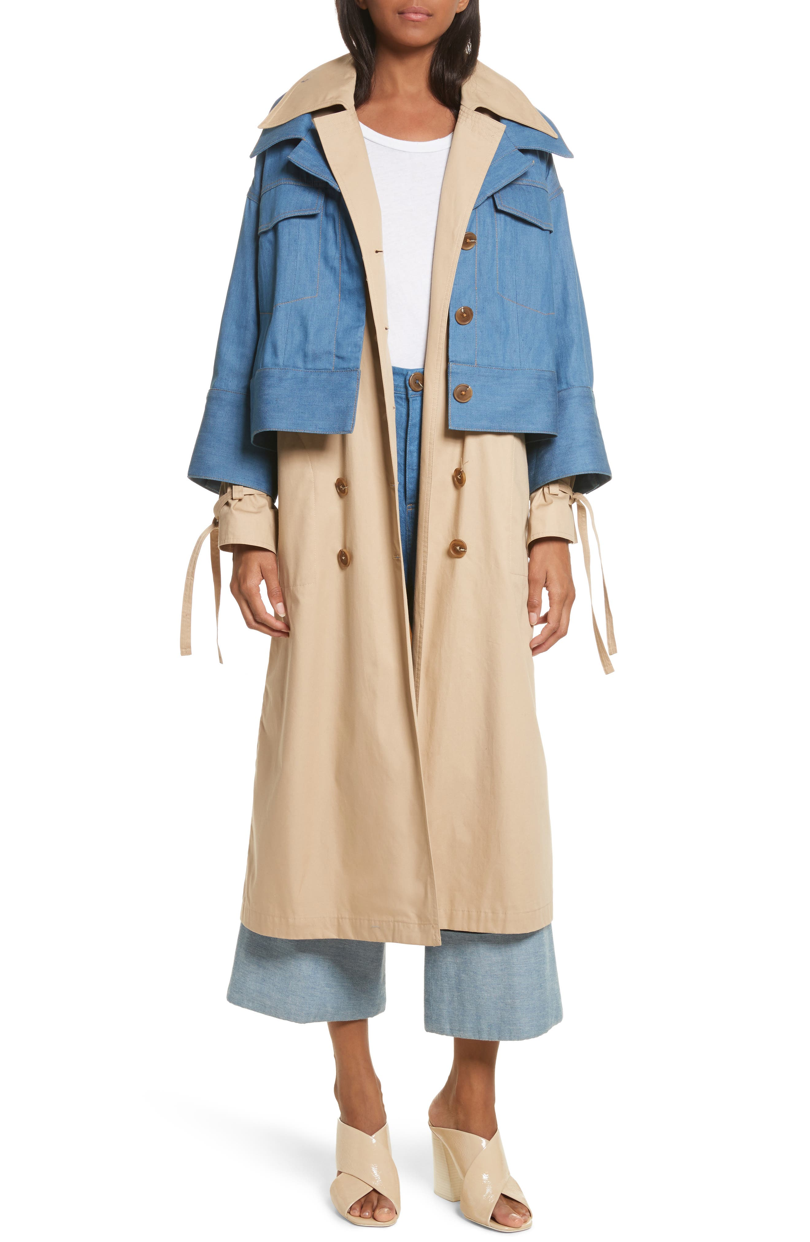 Denim Overlay Trench Coat,                             Main thumbnail 1, color,