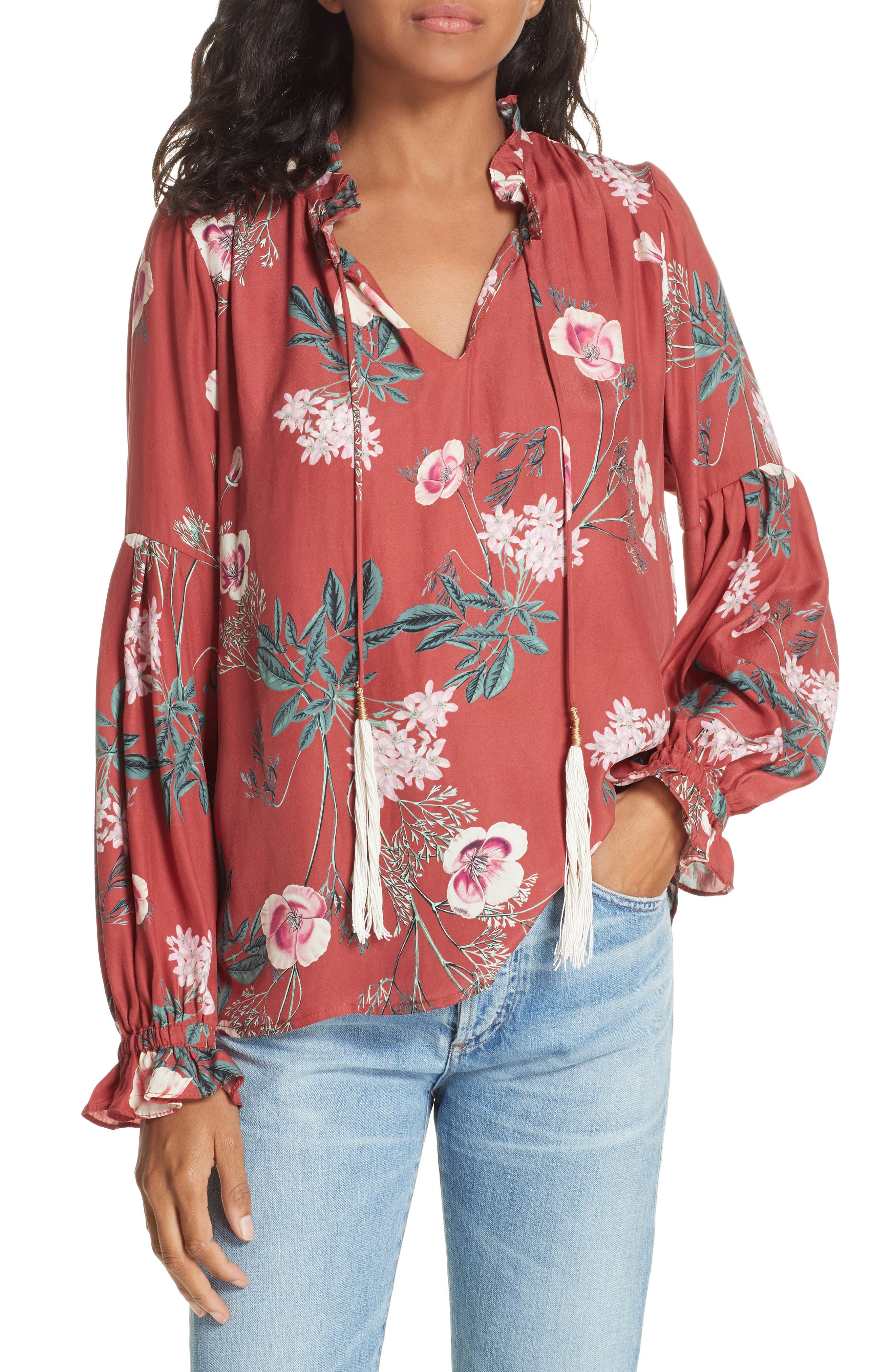 Split Neck Silk Peasant Top,                             Main thumbnail 1, color,                             RED BLOSSOM FLORAL