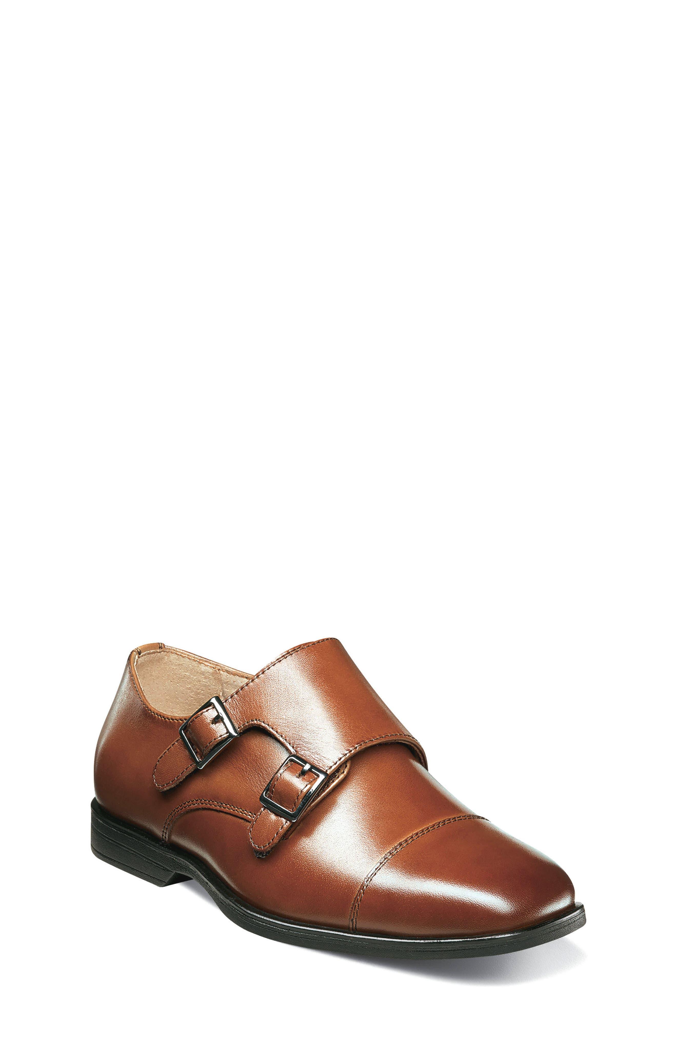 Reveal Double Monk Strap Shoe,                         Main,                         color, COGNAC LEATHER