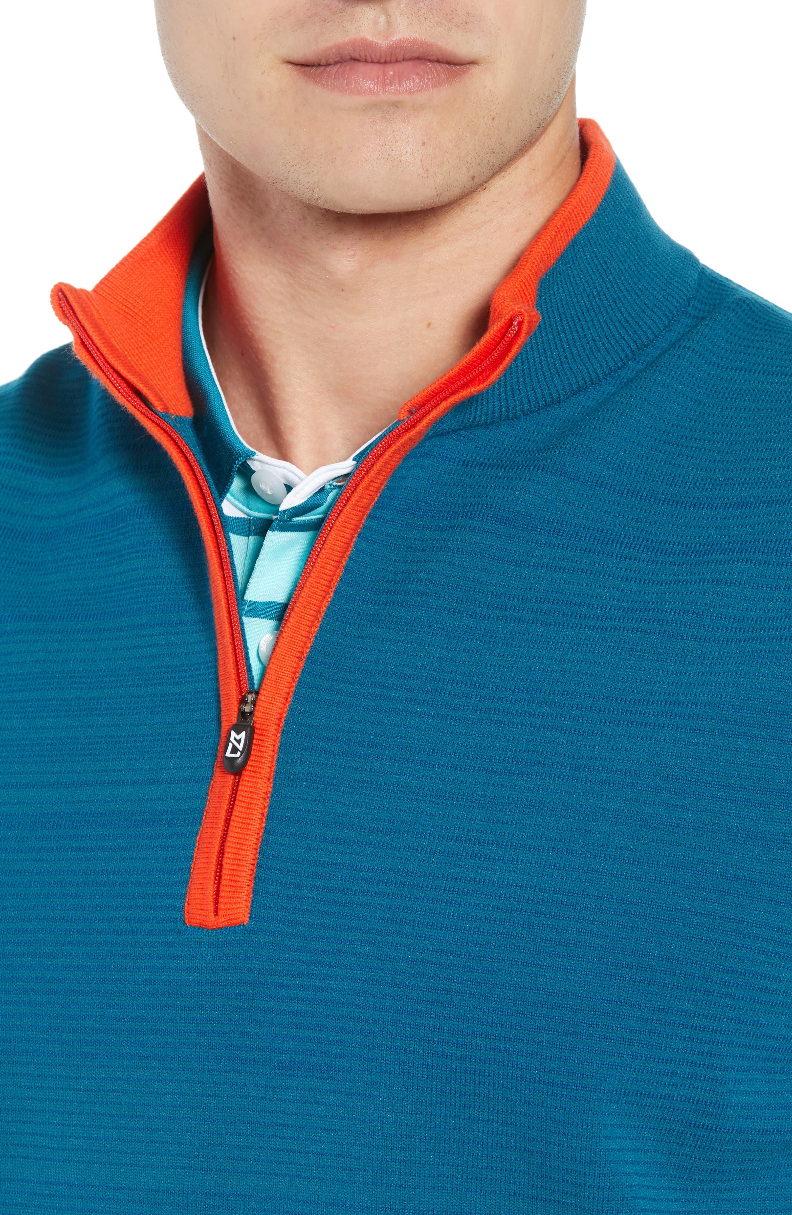 Impact Half Zip Sweater Vest,                             Alternate thumbnail 4, color,                             AQUATIC