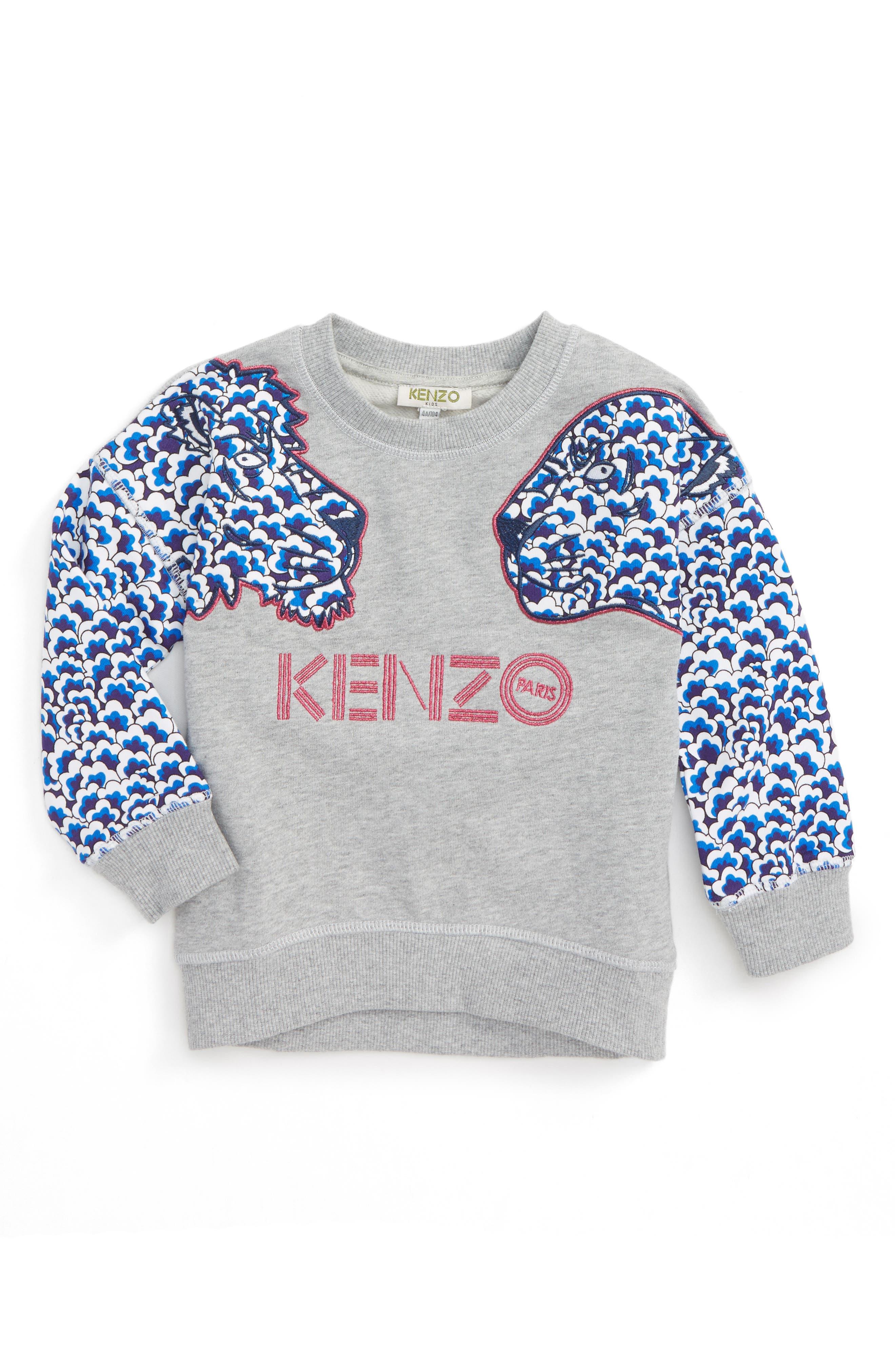 Tiger Appliqué Sweatshirt,                         Main,                         color, 064