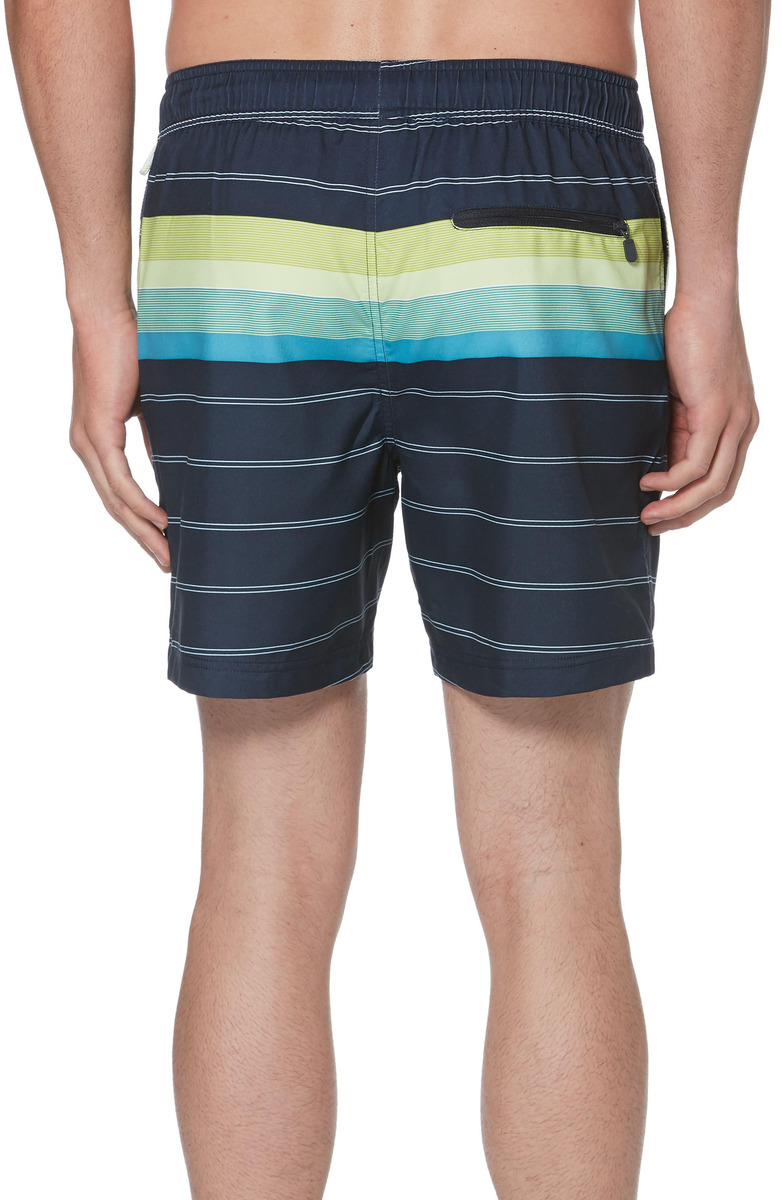 Engineered Stripe Swim Trunks,                             Alternate thumbnail 2, color,                             413