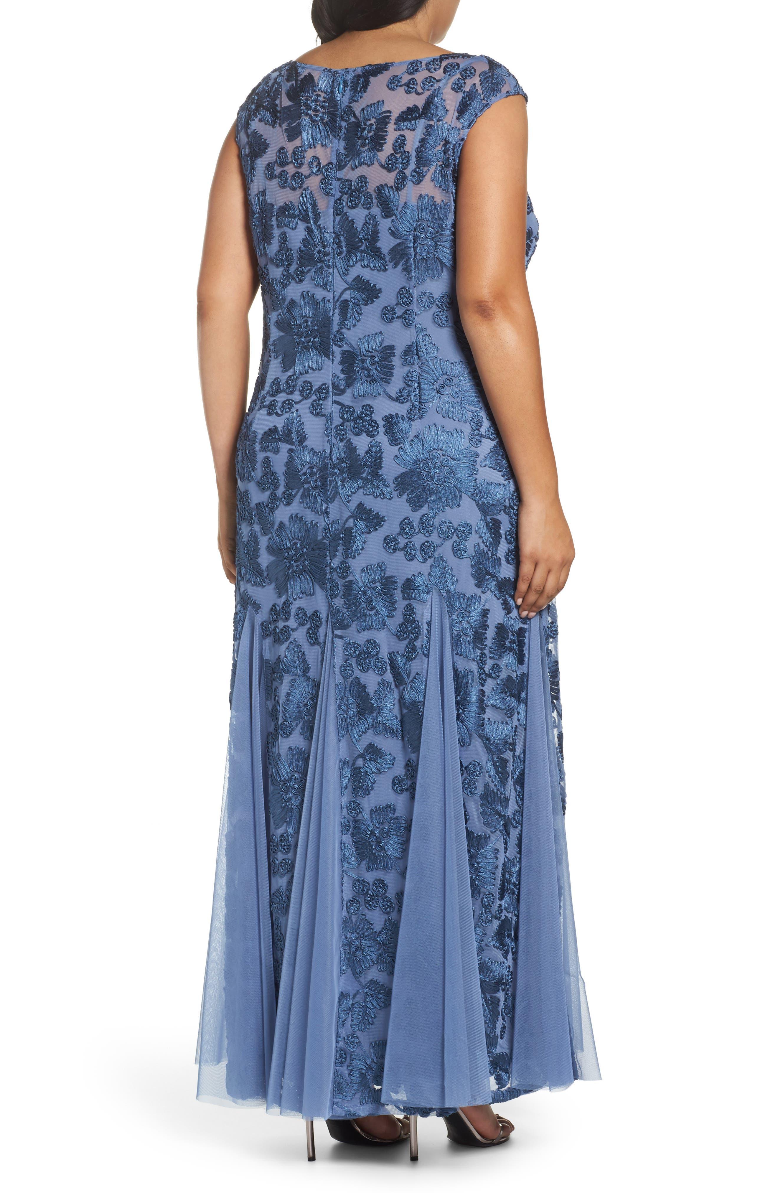 Soutache Stretch Tulle A-Line Gown,                             Alternate thumbnail 2, color,                             496