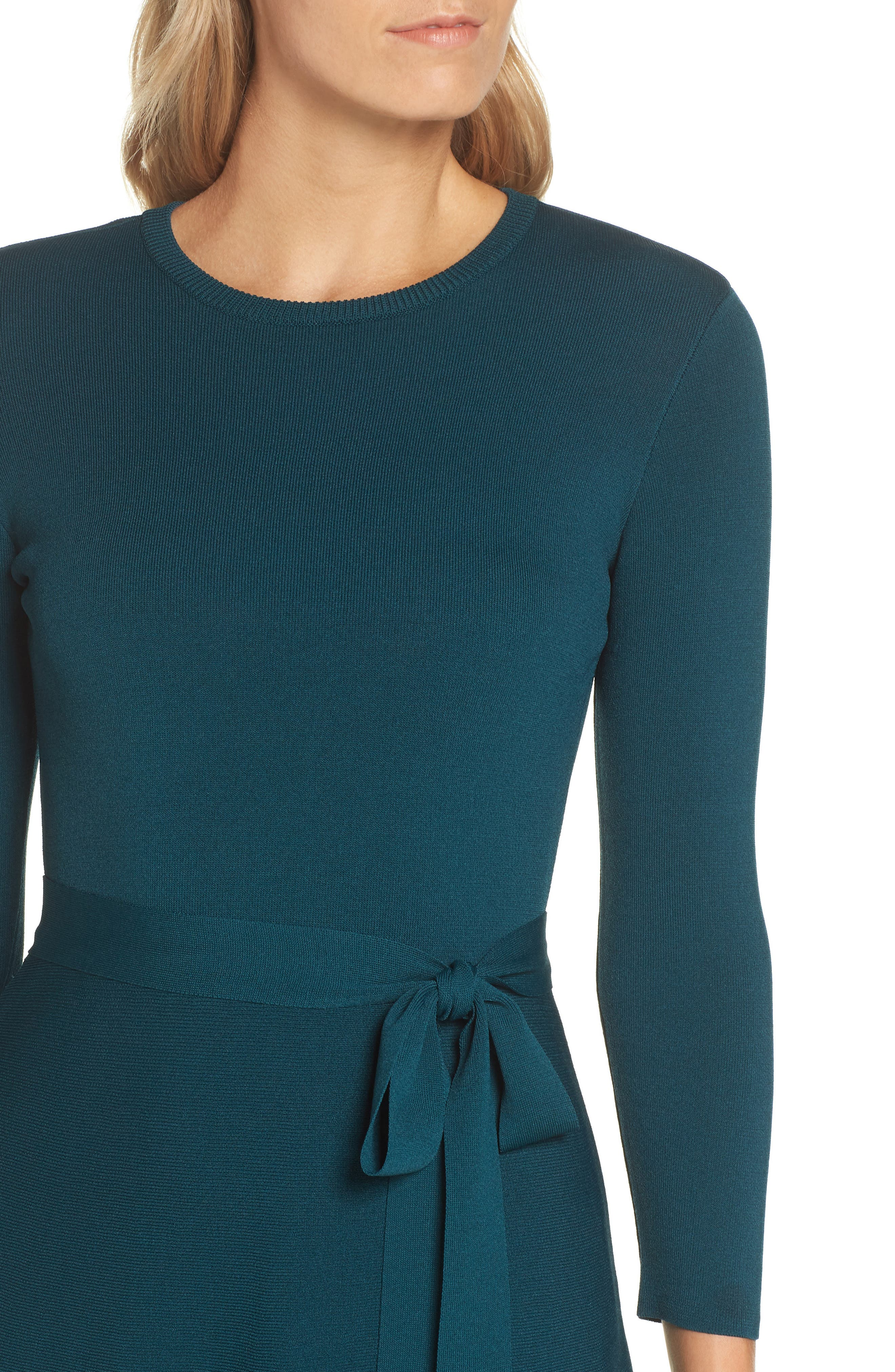 Fit & Flare Sweater Dress,                             Alternate thumbnail 4, color,                             SPRUCE