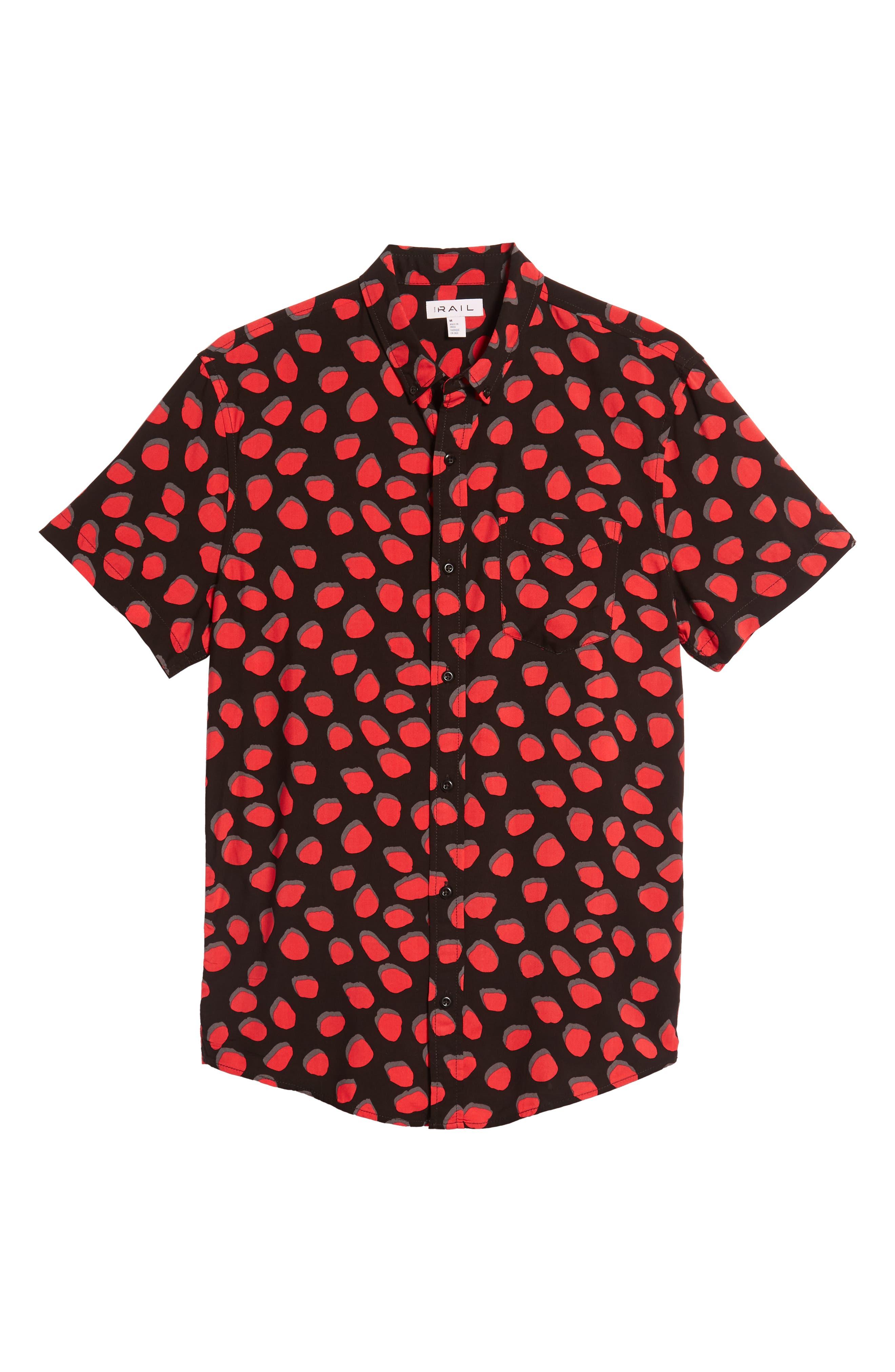 Dot Print Woven Shirt,                             Alternate thumbnail 6, color,                             BLACK CORAL INKY DOTS