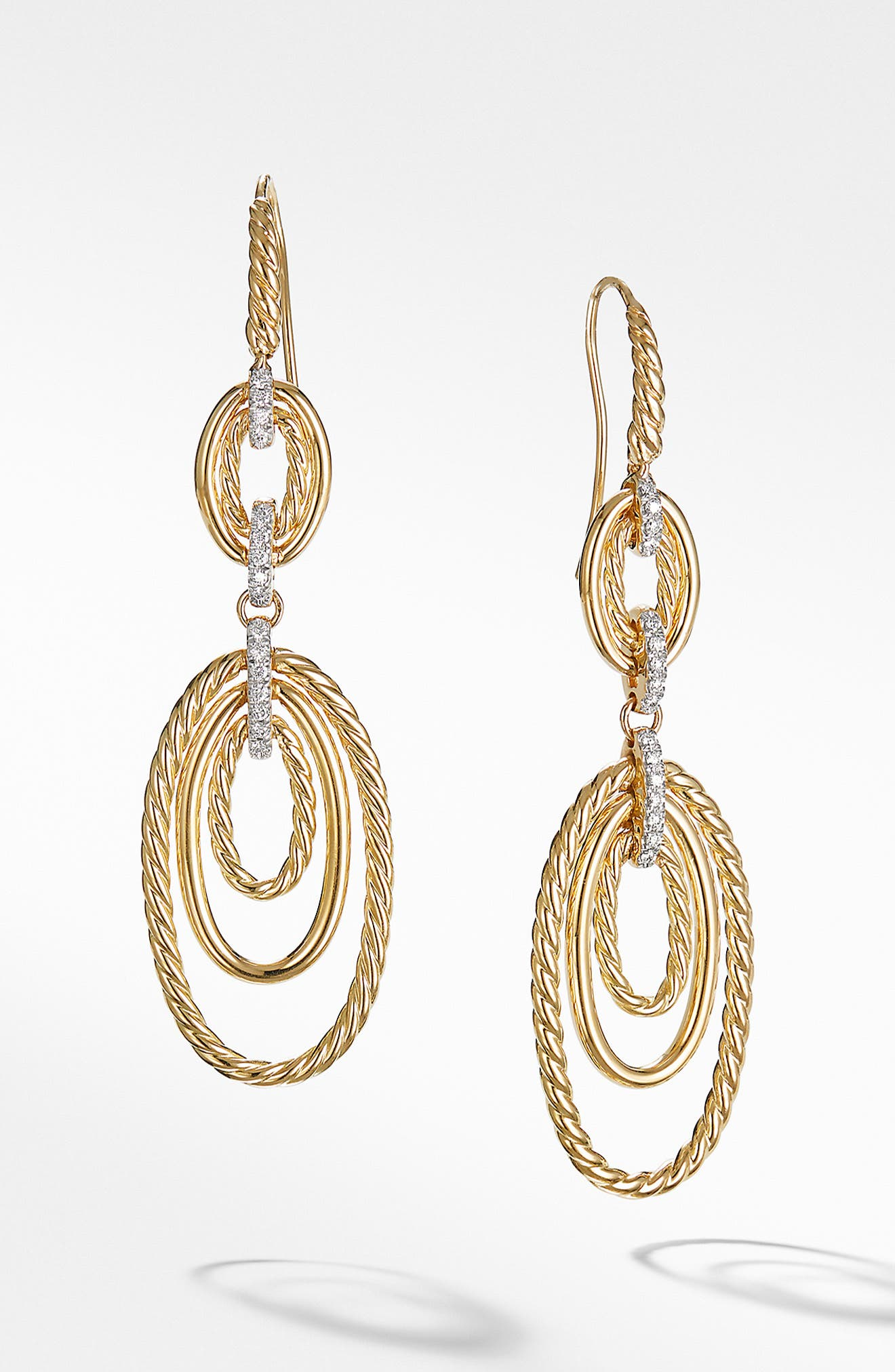 Continuance Drop Earrings with Diamonds in 18K Yellow Gold,                         Main,                         color, GOLD/ DIAMOND