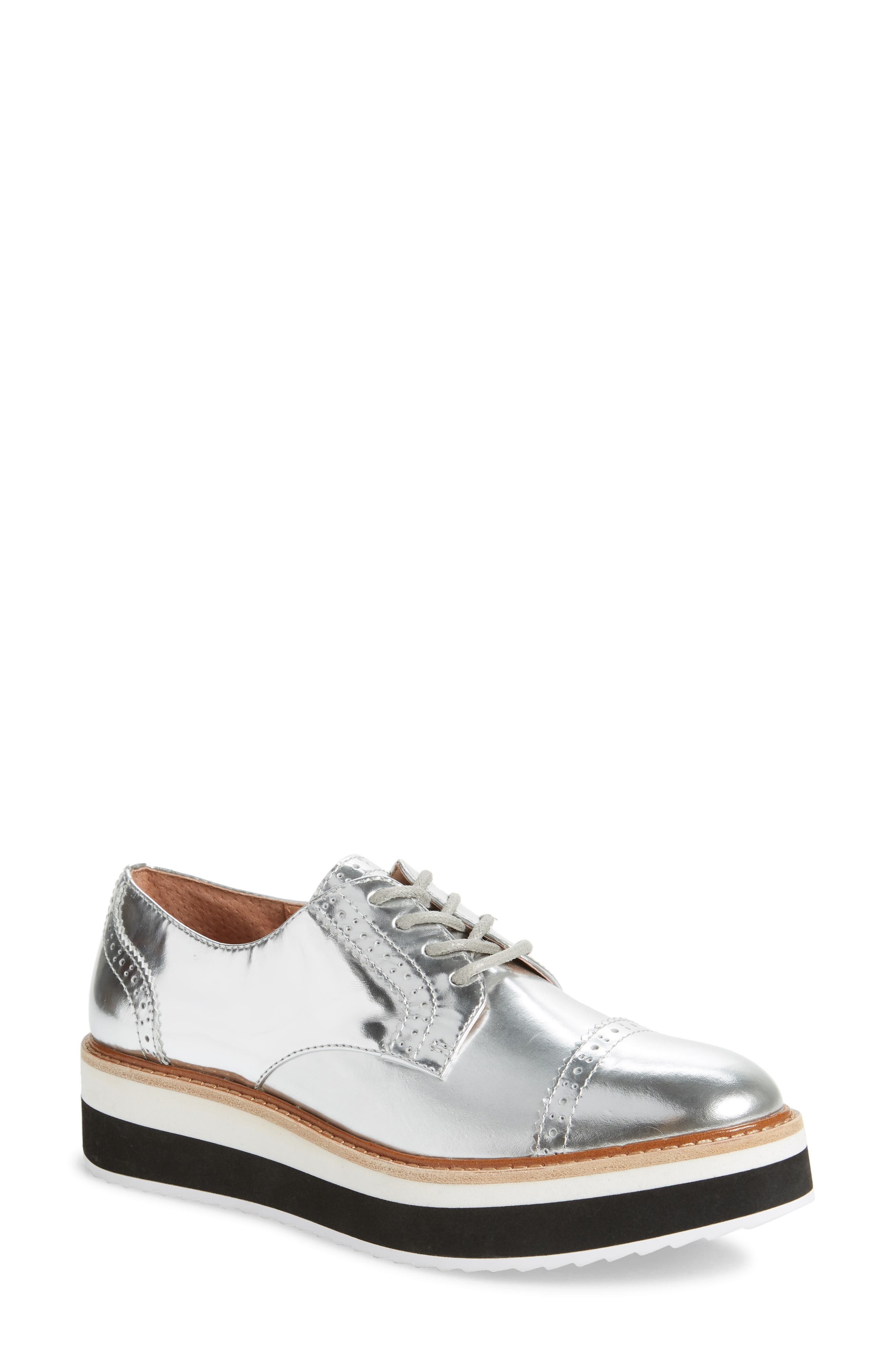 x Atlantic-Pacific The Flatform Derby, Main, color, SILVER LEATHER