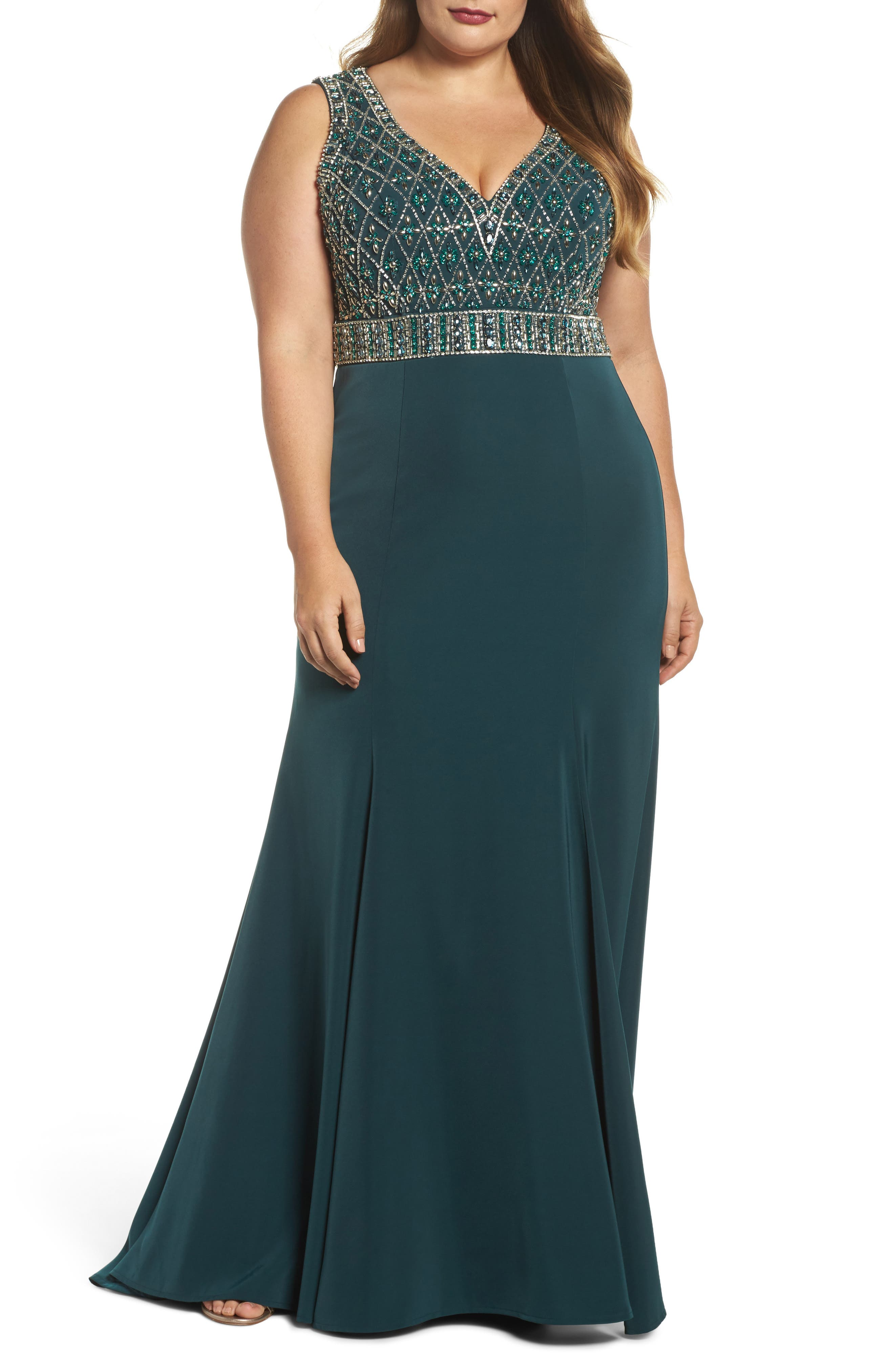 Crystal Embellished Ballgown,                             Main thumbnail 1, color,                             DEEP EMERALD