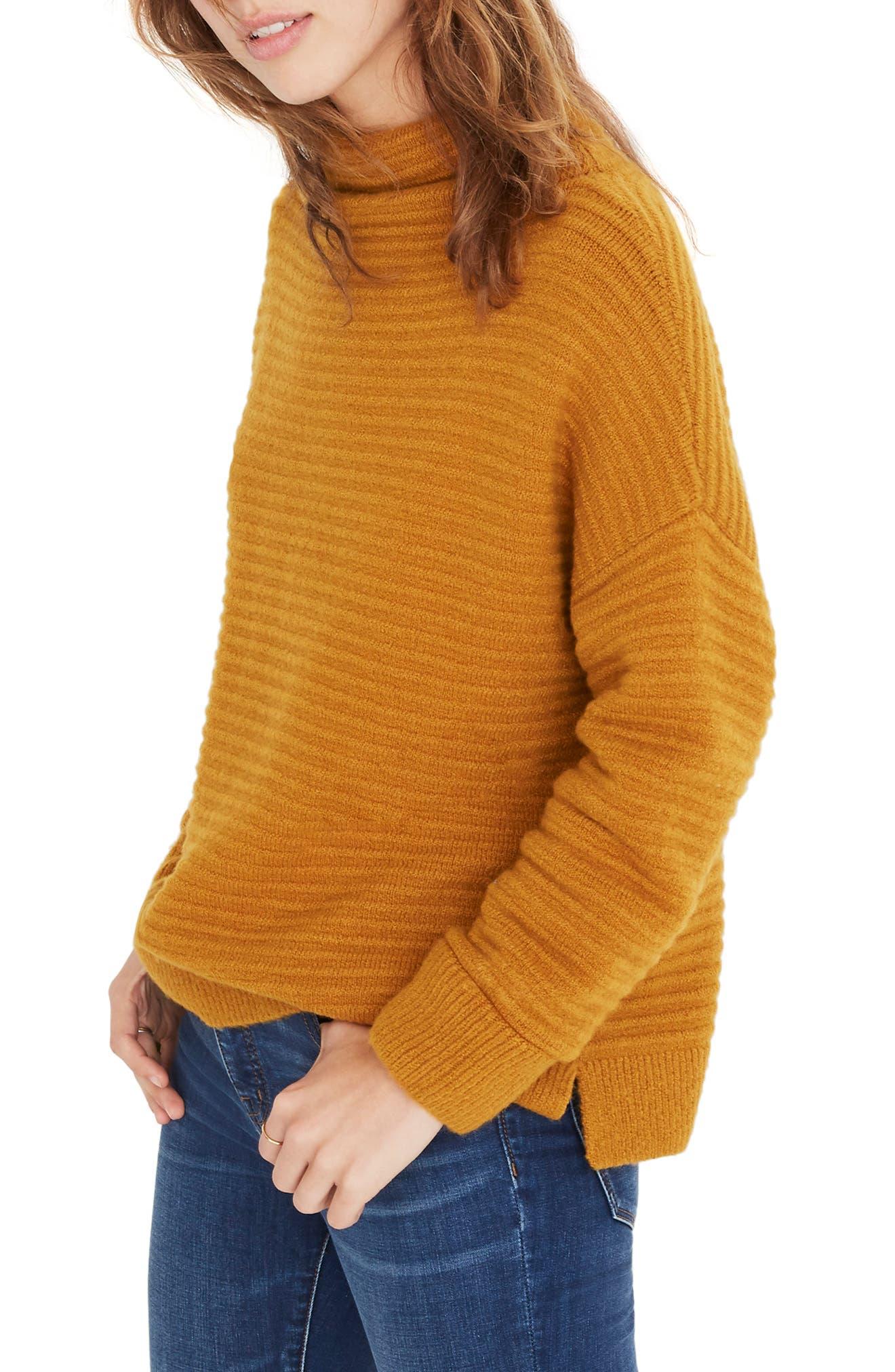 Belmont Mock Neck Sweater,                             Alternate thumbnail 4, color,                             GOLDEN HARVEST