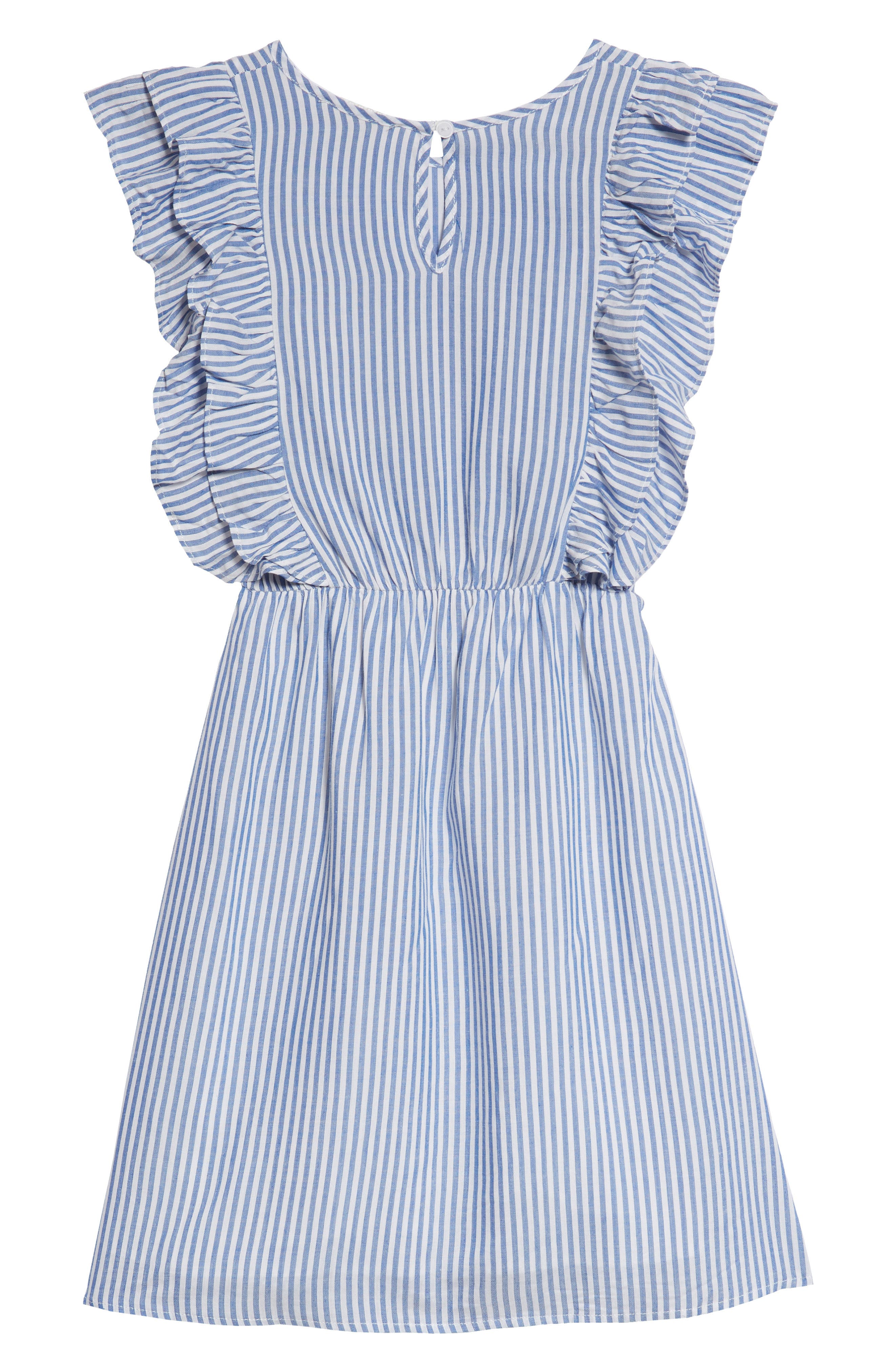Poplin Stripe Ruffle Dress,                             Alternate thumbnail 2, color,