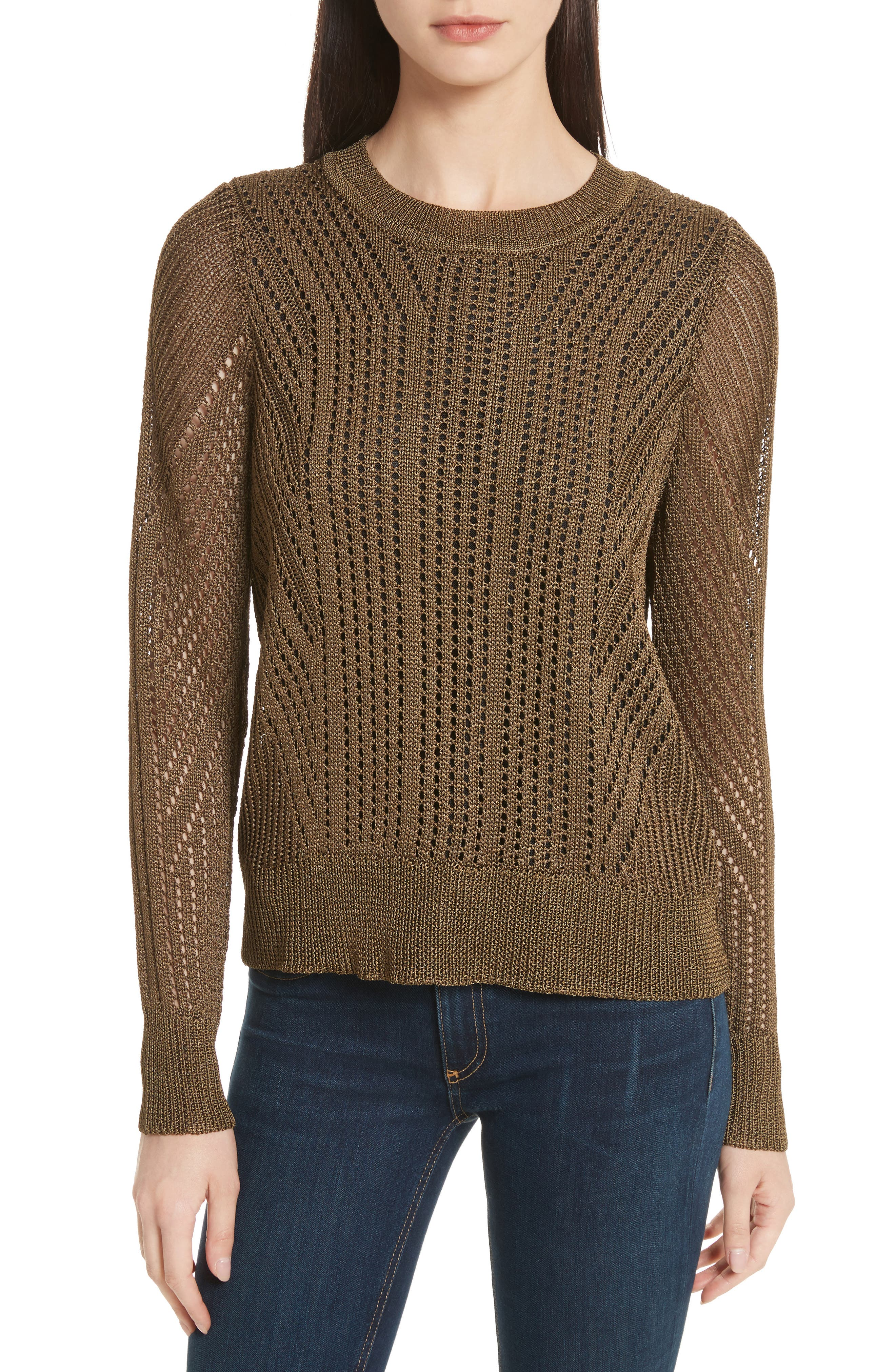 Pamela Crewneck Pointelle Sweater,                             Main thumbnail 2, color,