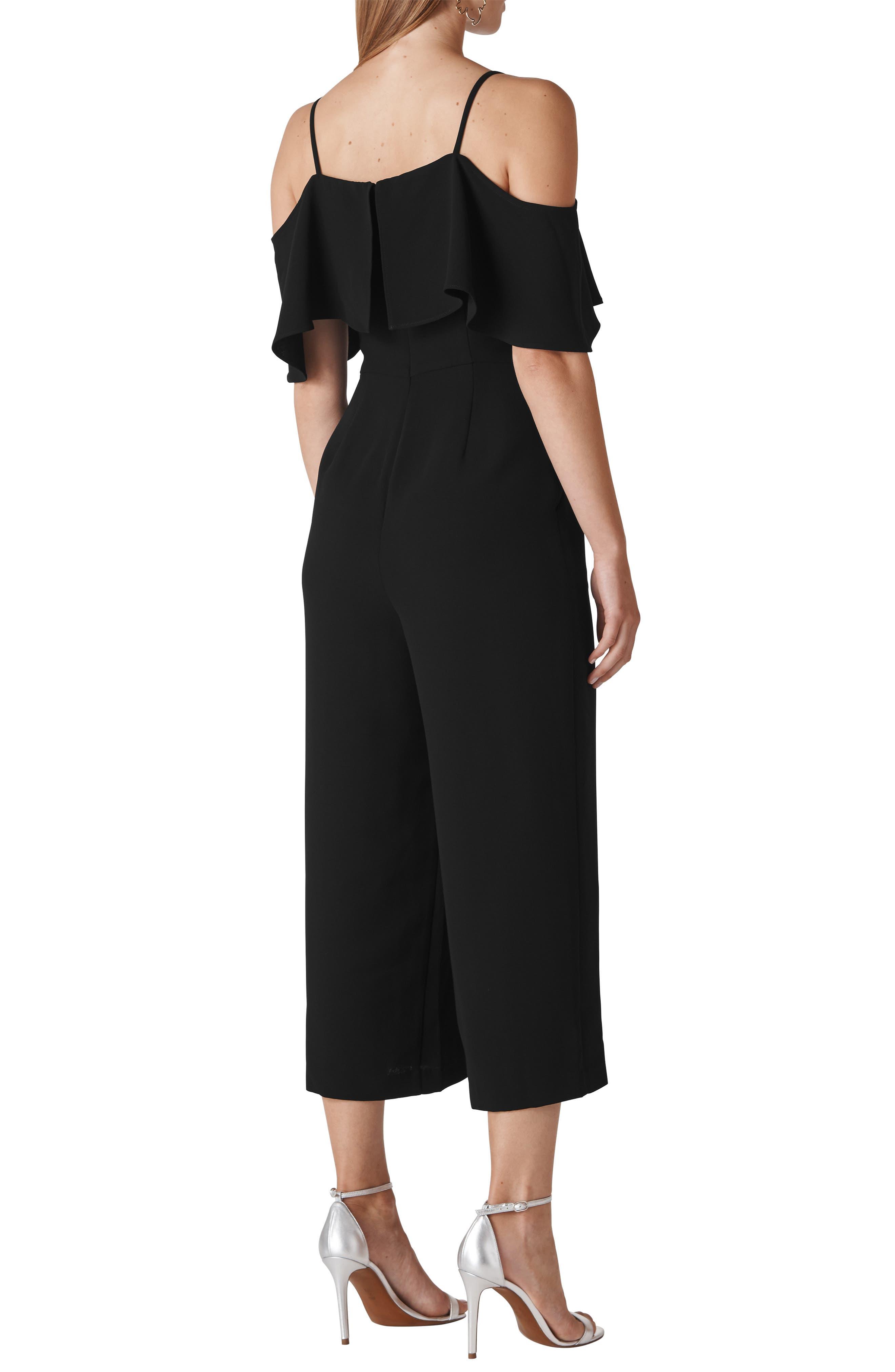 Camila Ruffle Cold Shoulder Crop Jumpsuit,                             Alternate thumbnail 2, color,                             BLACK