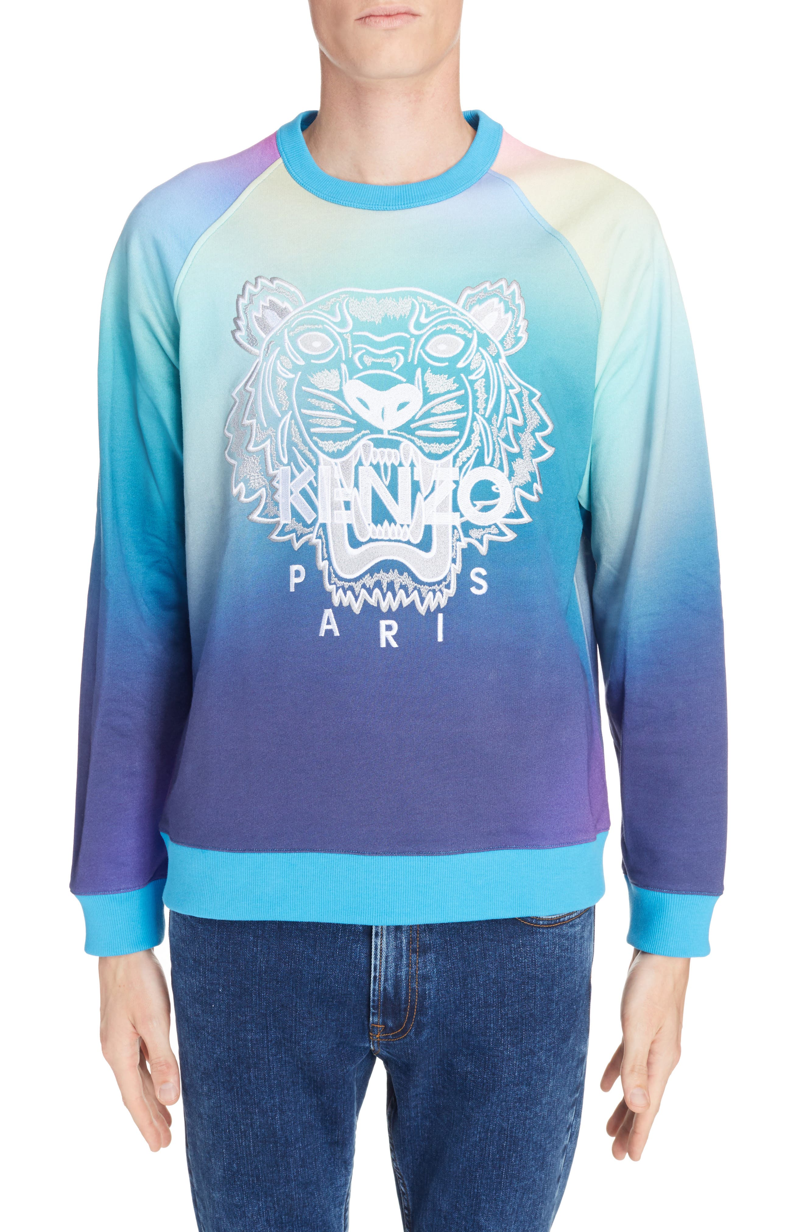 Rainbow Embroidered Tiger Sweatshirt,                             Main thumbnail 1, color,                             CYAN BLUE