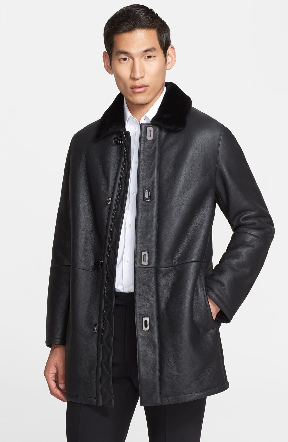 Leather & Genuine Shearling Coat with Gancini Closure, Main, color, 006