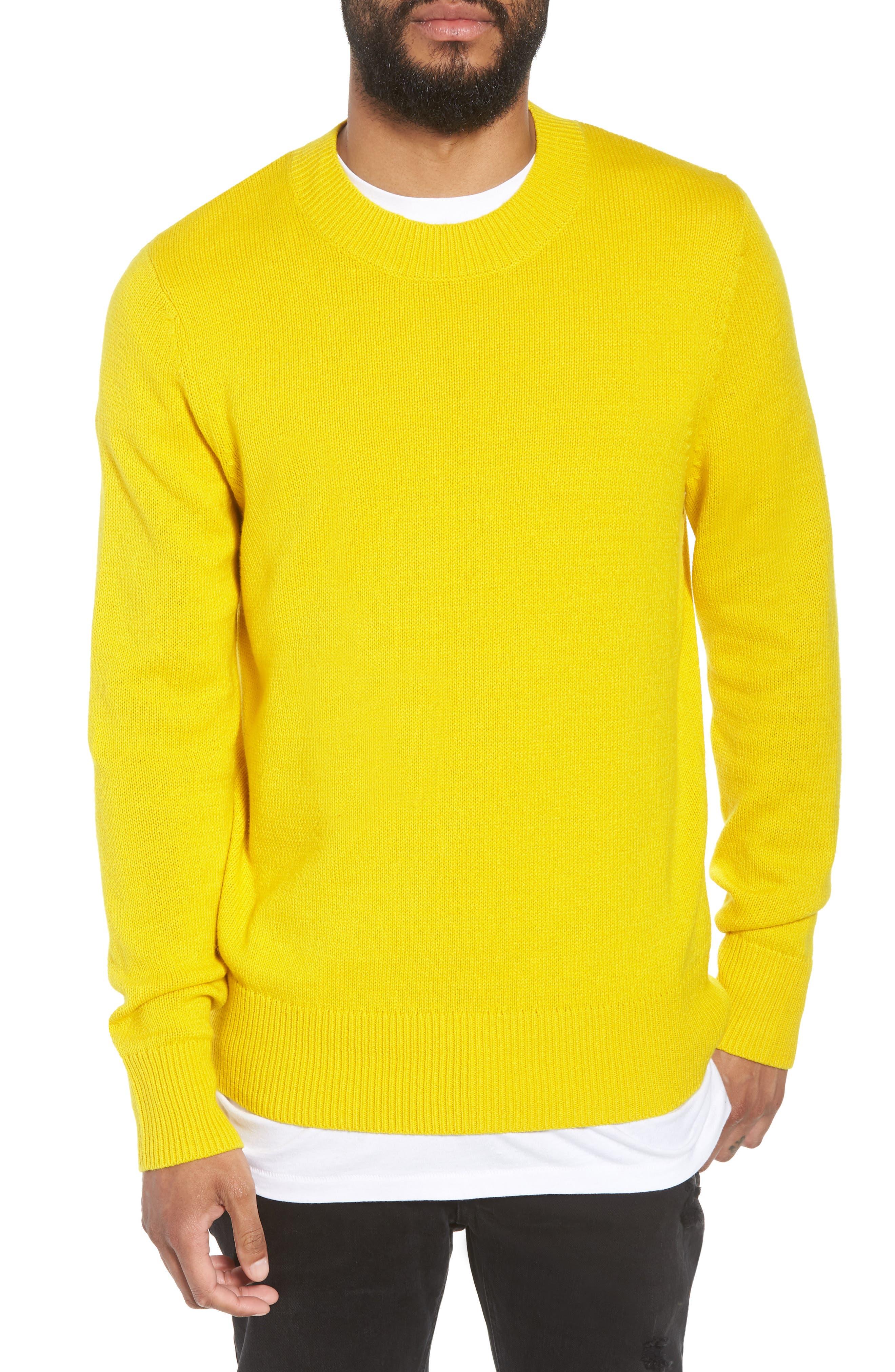 Crewneck Sweater,                         Main,                         color, YELLOW SULPHUR