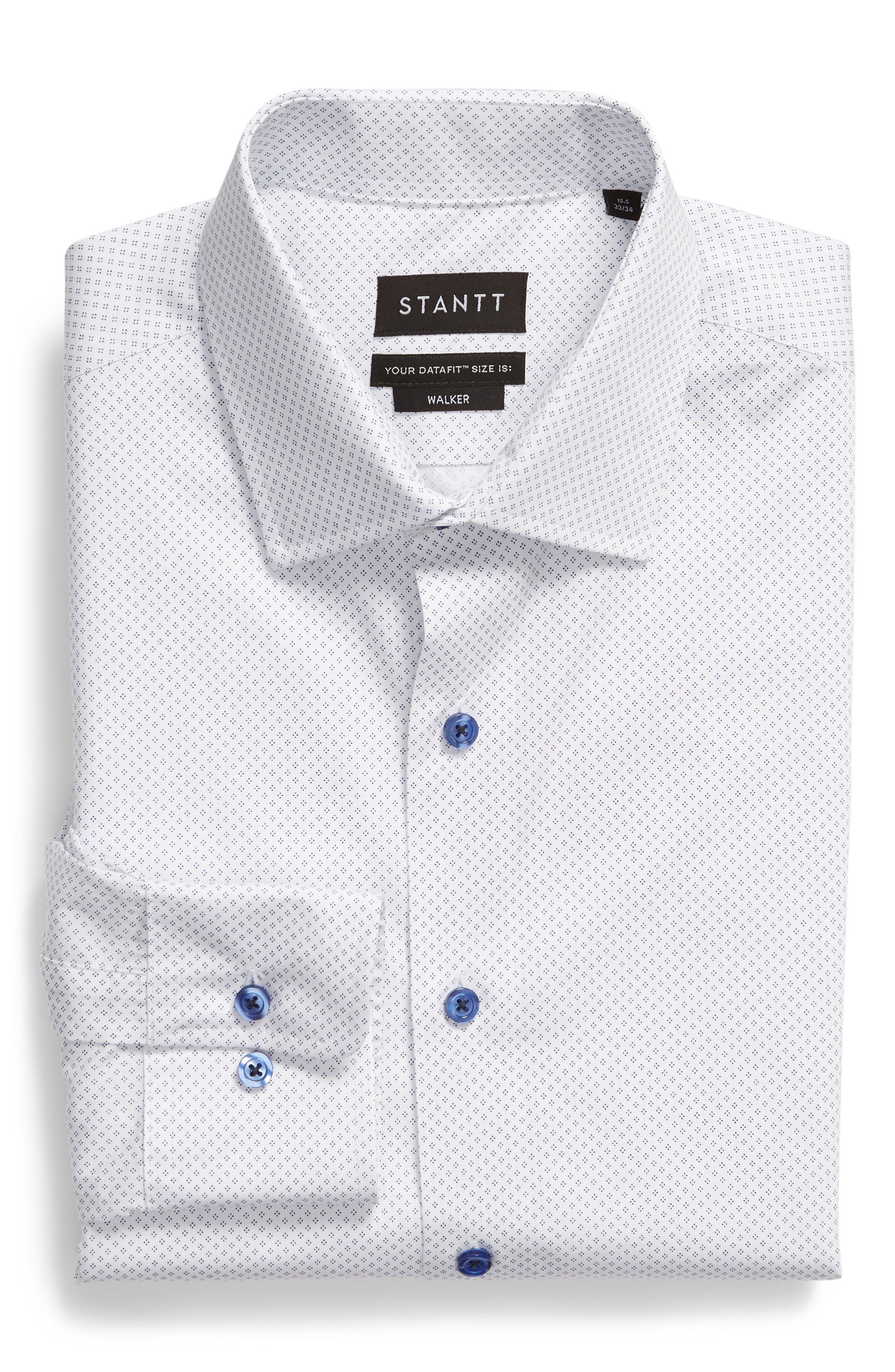 Slim Fit Diamond Dress Shirt,                             Alternate thumbnail 5, color,                             WHITE DIAMOND DOT