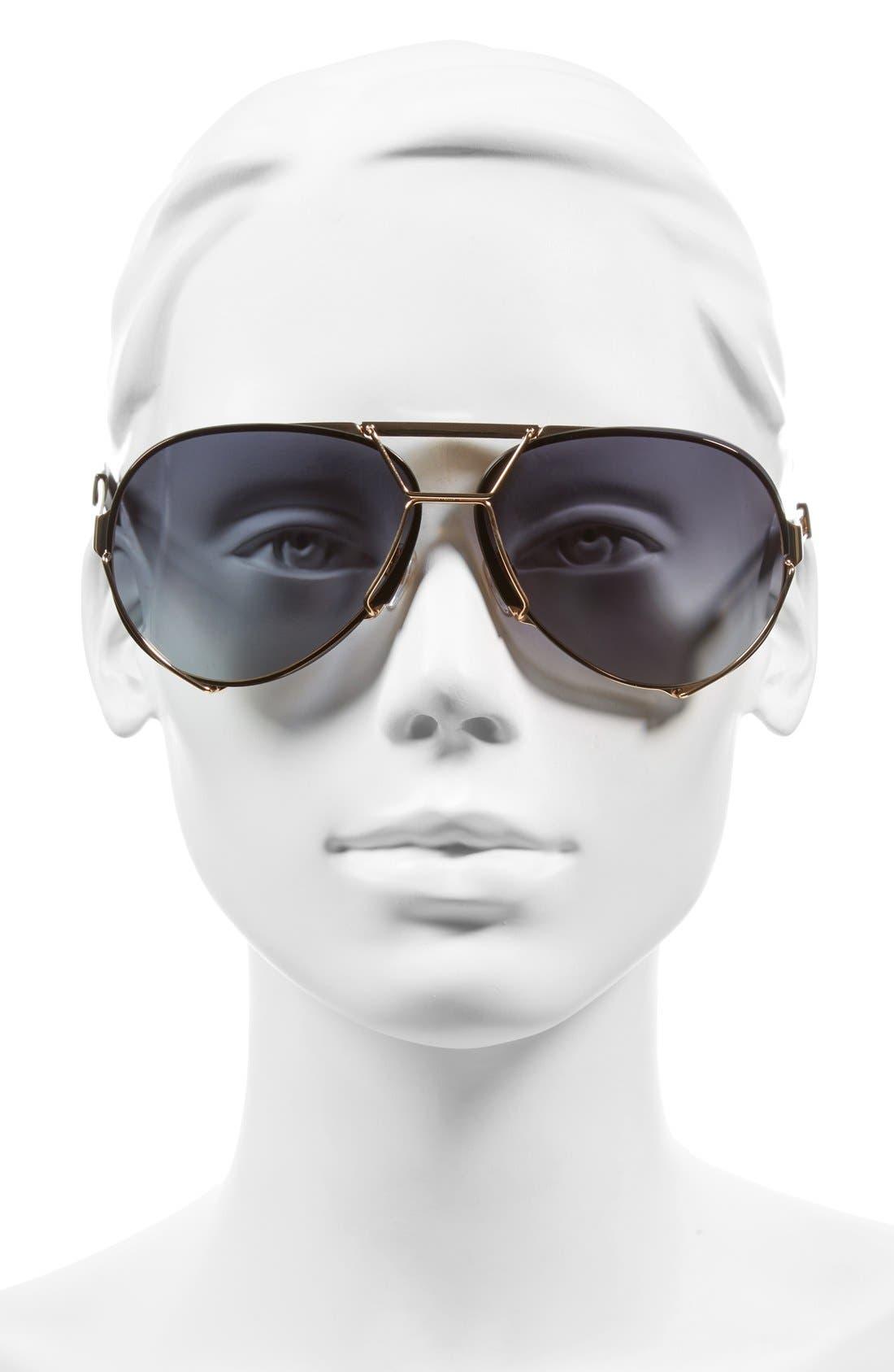 65mm Aviator Sunglasses,                             Alternate thumbnail 2, color,                             GOLD/ GREY