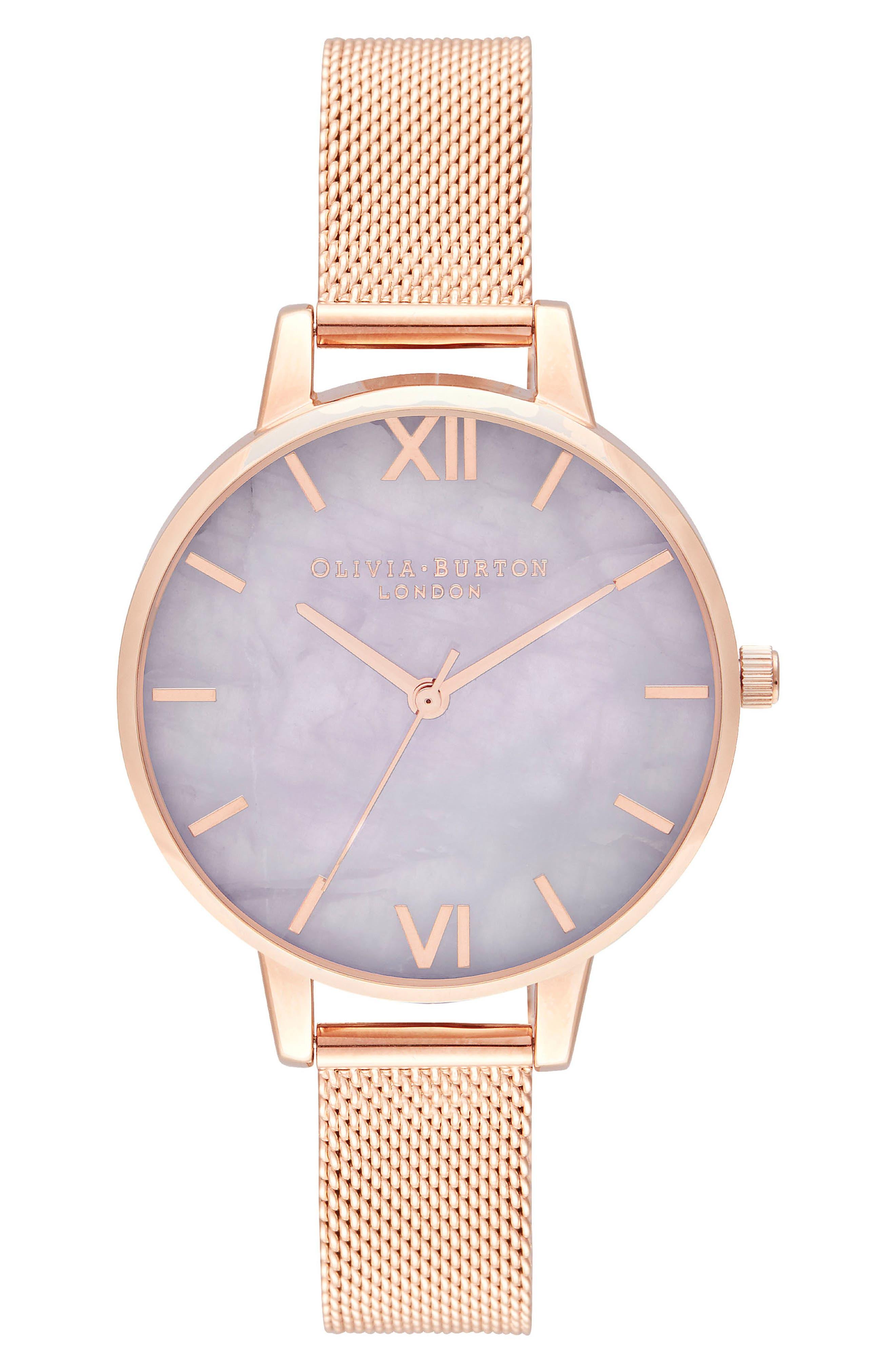 Bracelet Watch, 30mm,                             Main thumbnail 1, color,                             ROSE GOLD/ AMETHYST/ ROSE GOLD