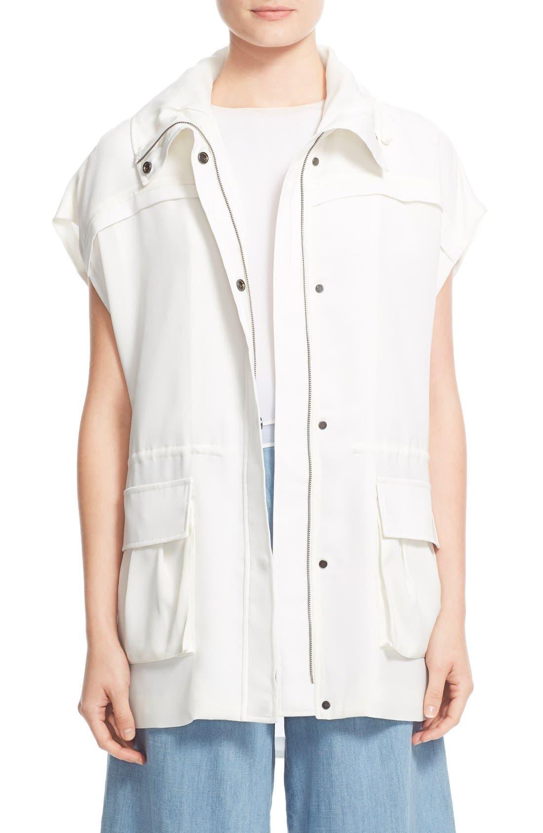 'Tate' Sleeveless Hooded Cargo Jacket, Main, color, 100