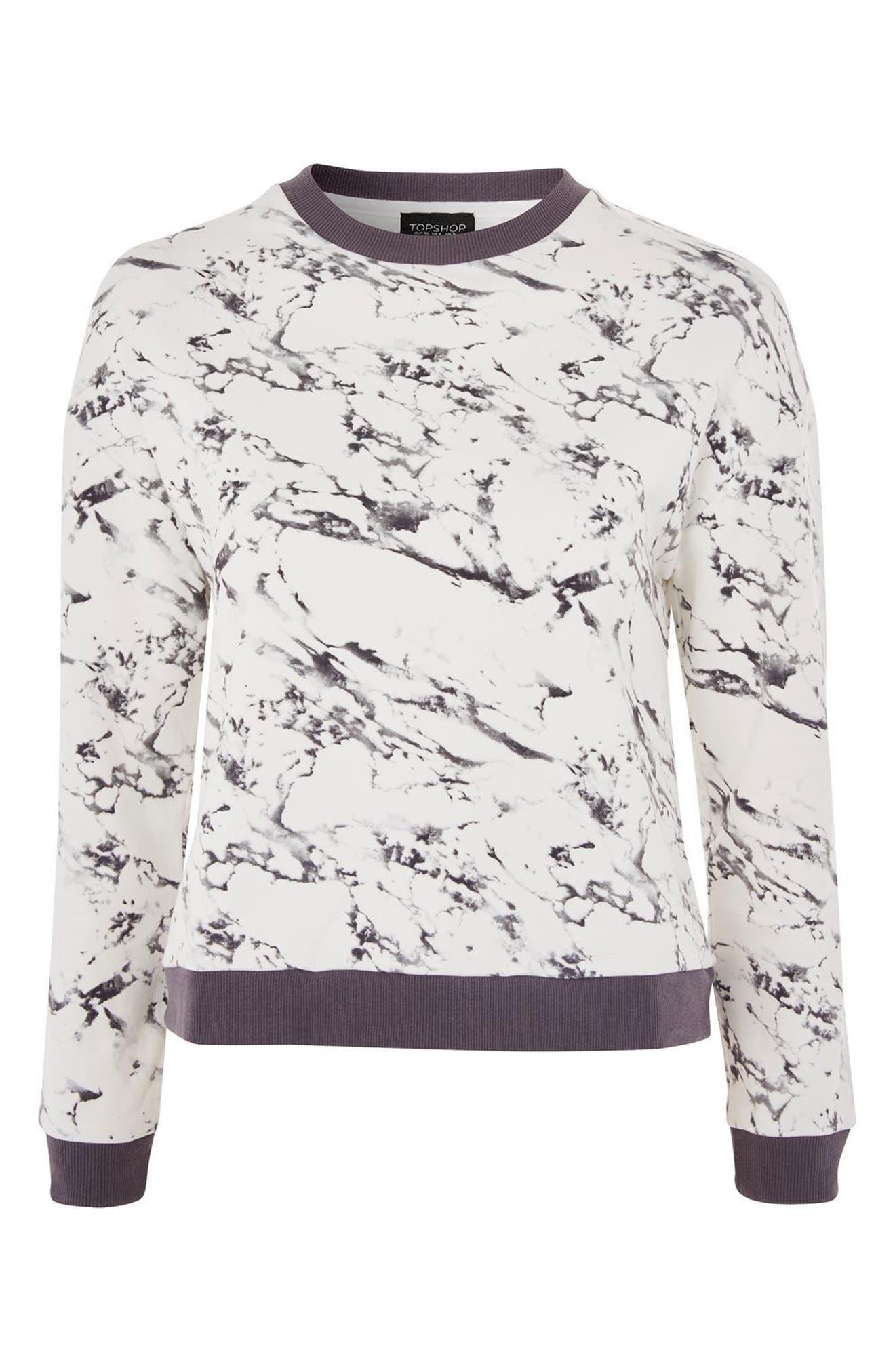 Marble Print Lounge Sweatshirt,                             Alternate thumbnail 2, color,                             020