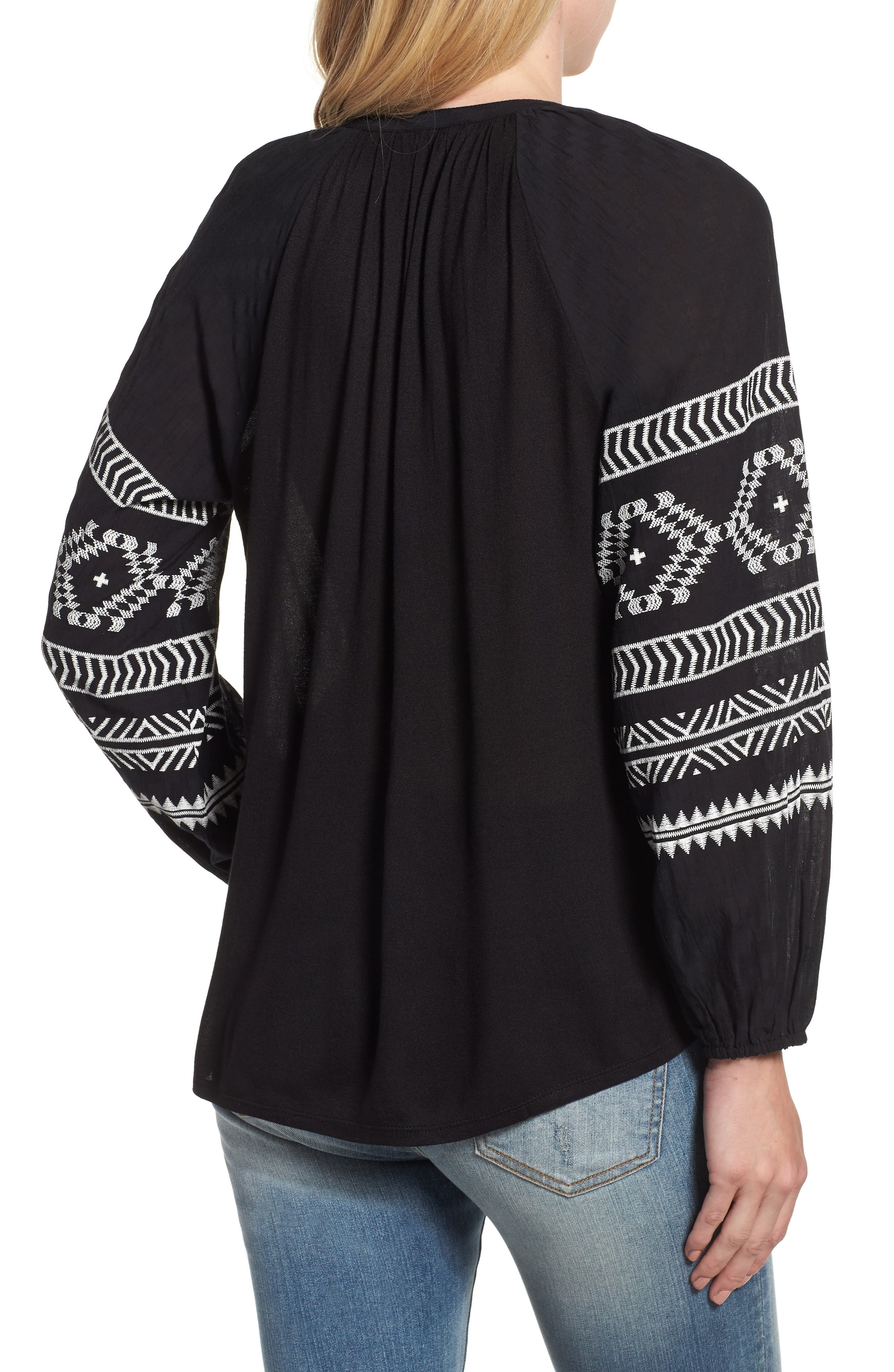 Embroidered Peasant Blouse,                             Alternate thumbnail 2, color,                             BLACK W/ CREAM