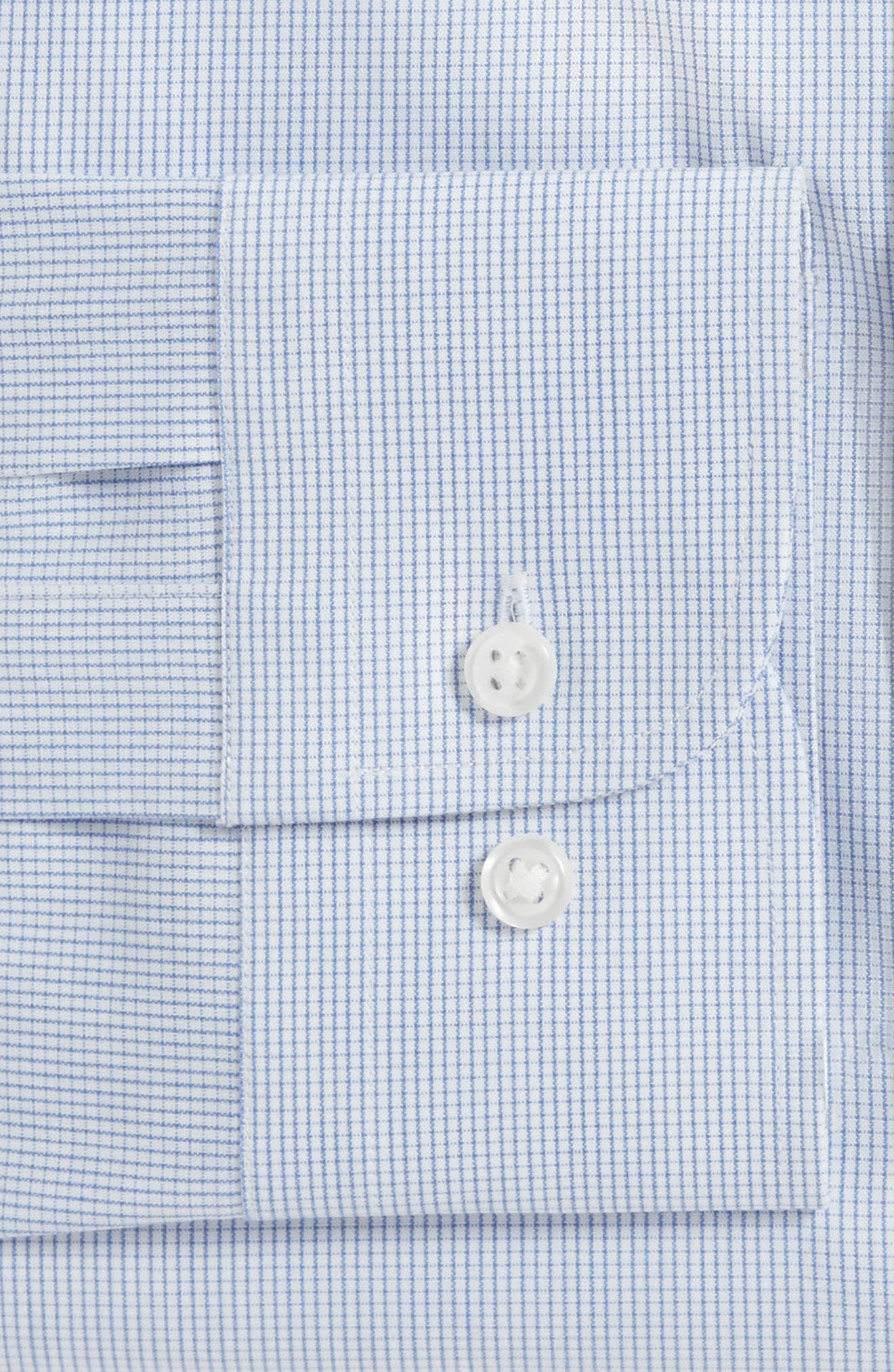 Tech-Smart Trim Fit Stretch Tattersall Dress Shirt,                             Alternate thumbnail 4, color,