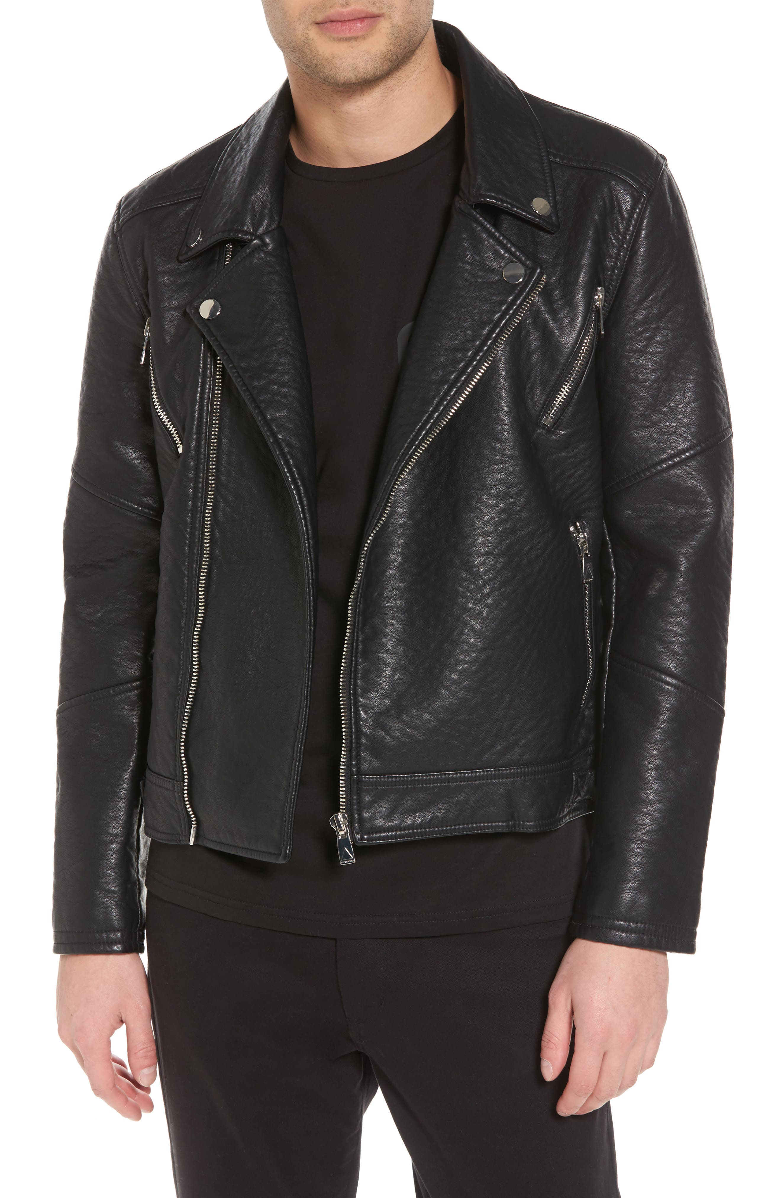 Elmut Faux Leather Biker Jacket,                             Main thumbnail 1, color,                             001