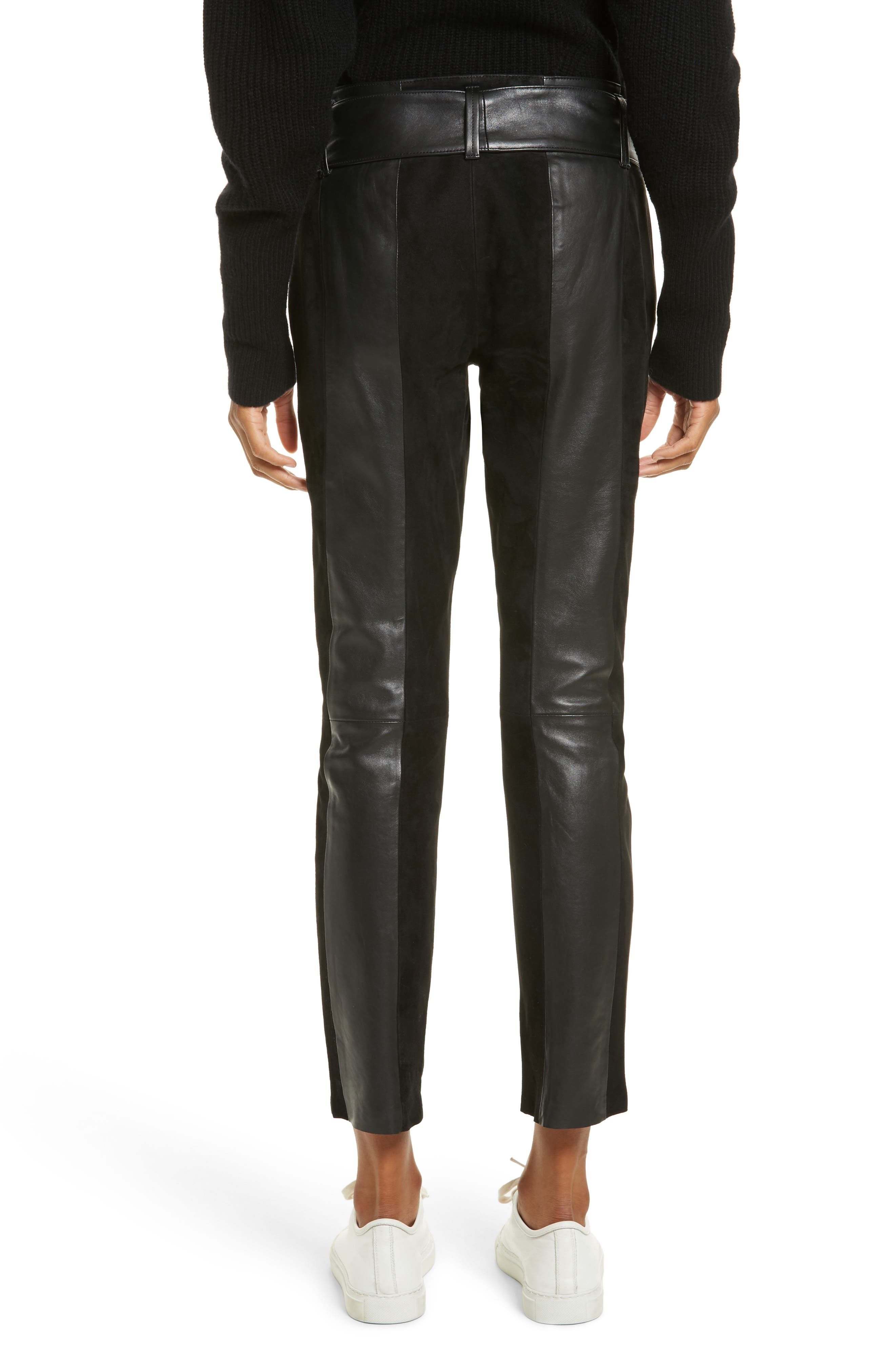 Paneled Suede & Leather Pants,                             Alternate thumbnail 2, color,                             001