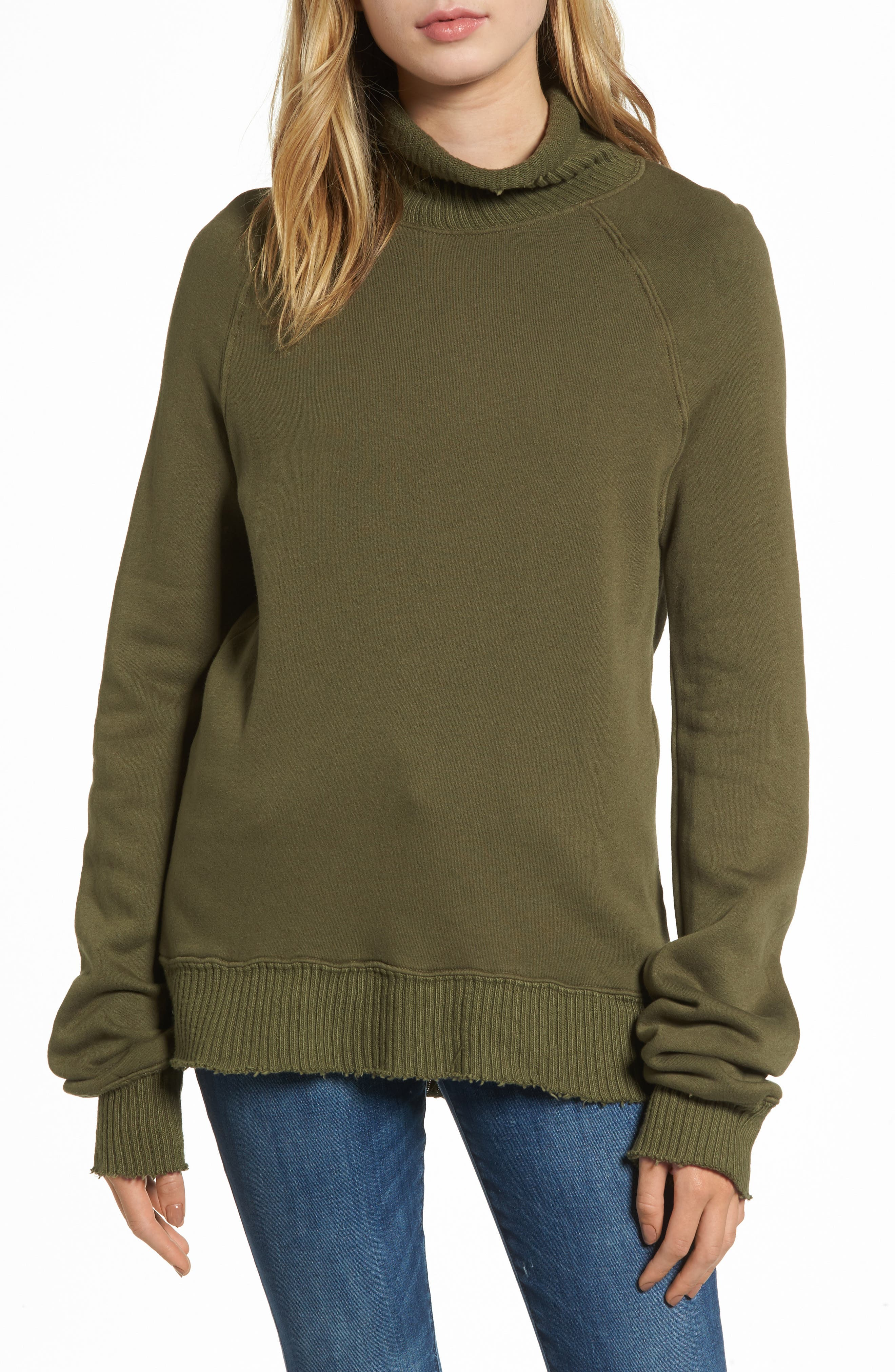 Distressed Fleece Turtleneck Sweatshirt,                             Main thumbnail 1, color,                             317