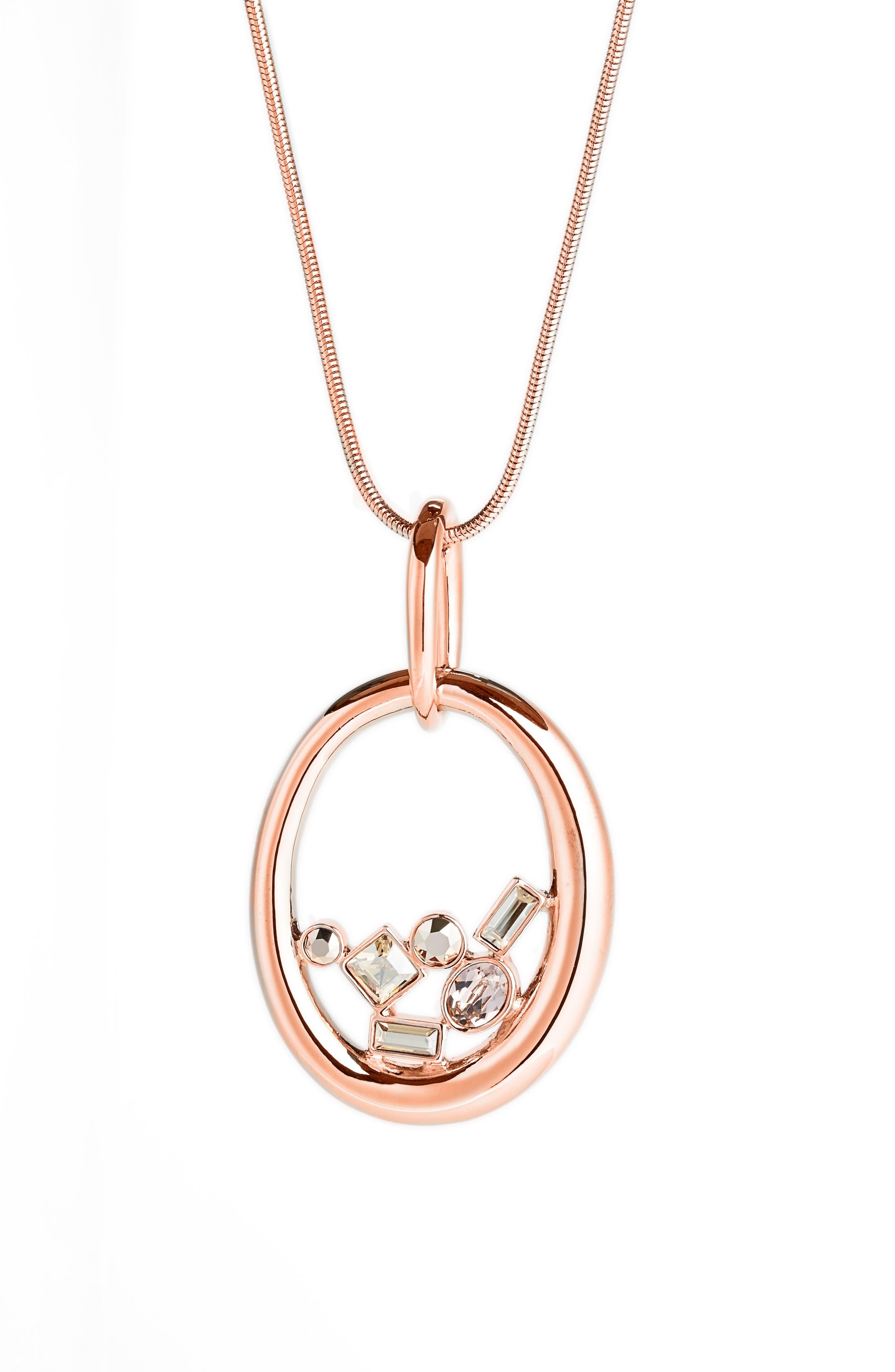 Swarovski Crystal Oval Pendant,                         Main,                         color, CRYSTAL ROSE GOLD/ ROSE