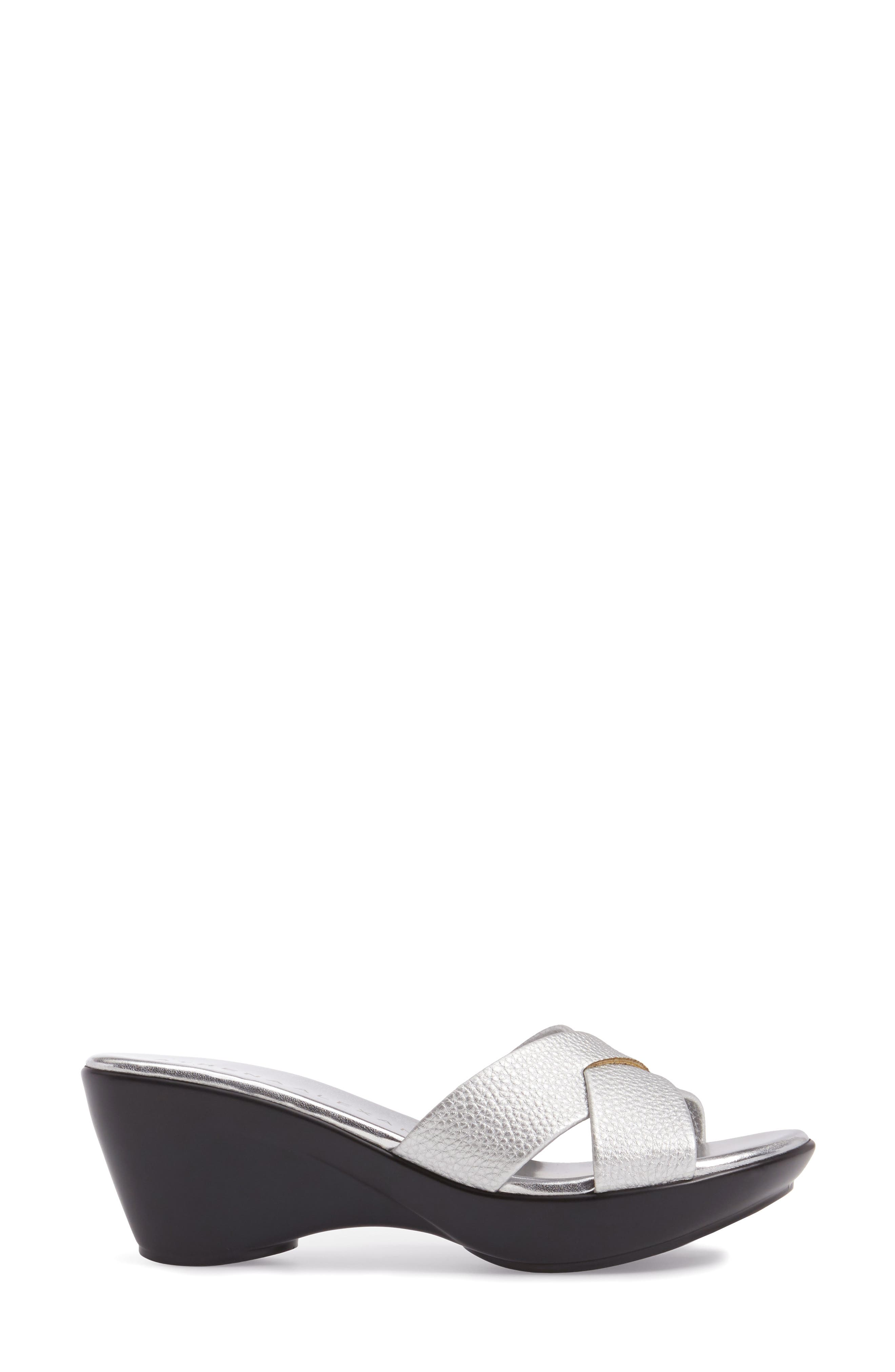 Verna Wedge Slide Sandal,                             Alternate thumbnail 3, color,                             SILVER FAUX LEATHER