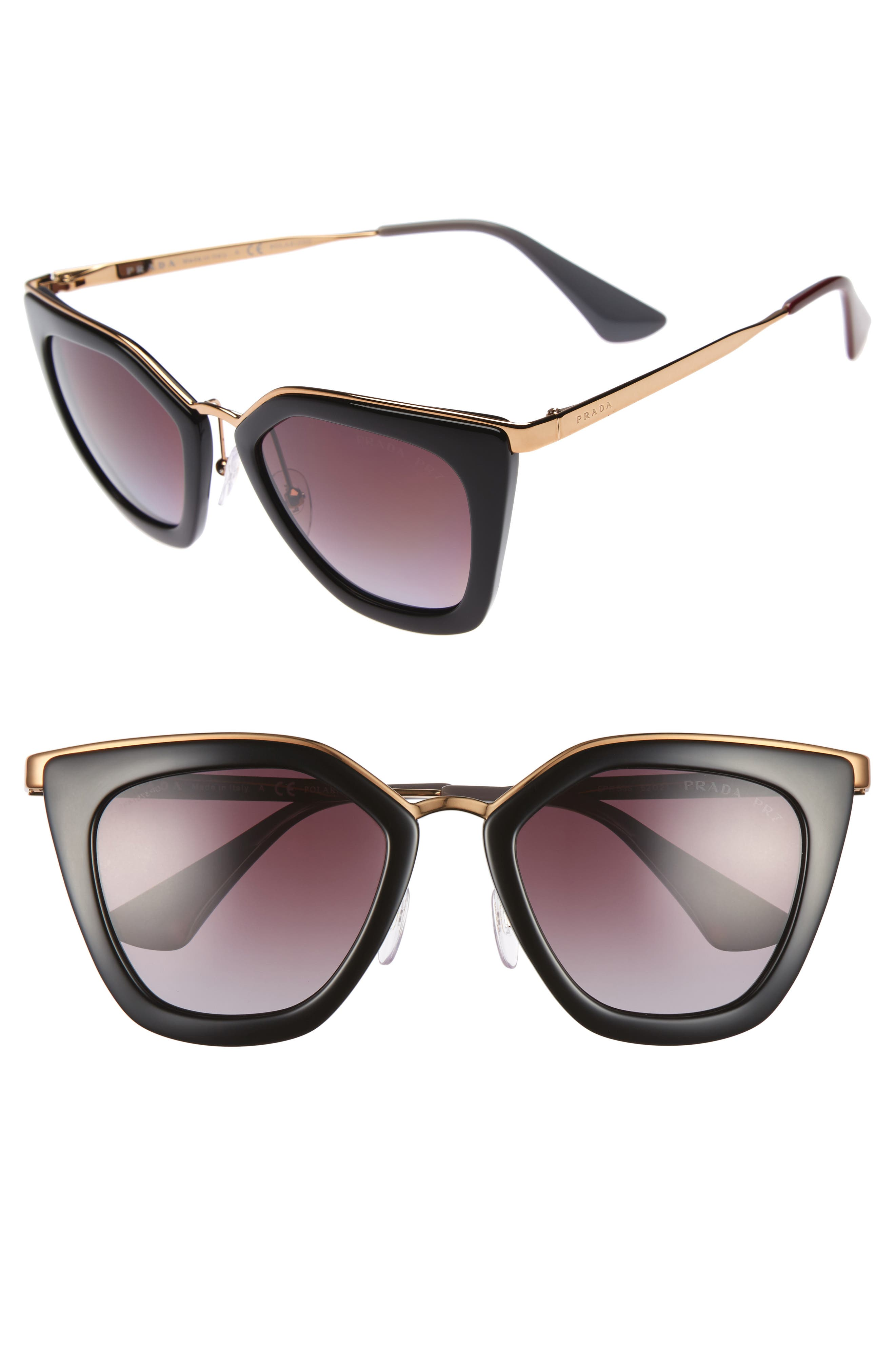 52mm Polarized Cat Eye Sunglasses,                         Main,                         color, 001