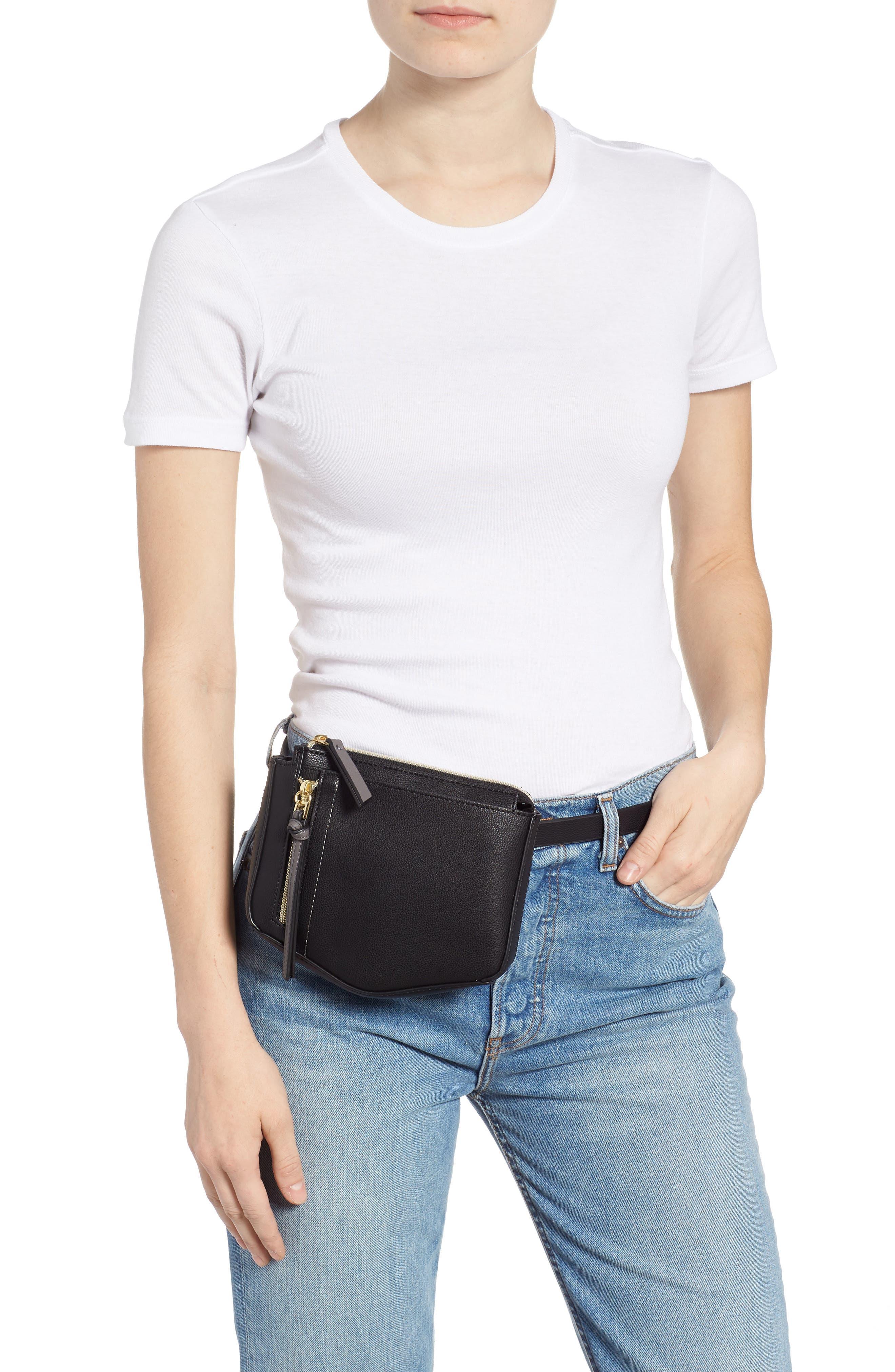 Elia Faux Leather Belt Bag,                             Alternate thumbnail 2, color,                             BLACK