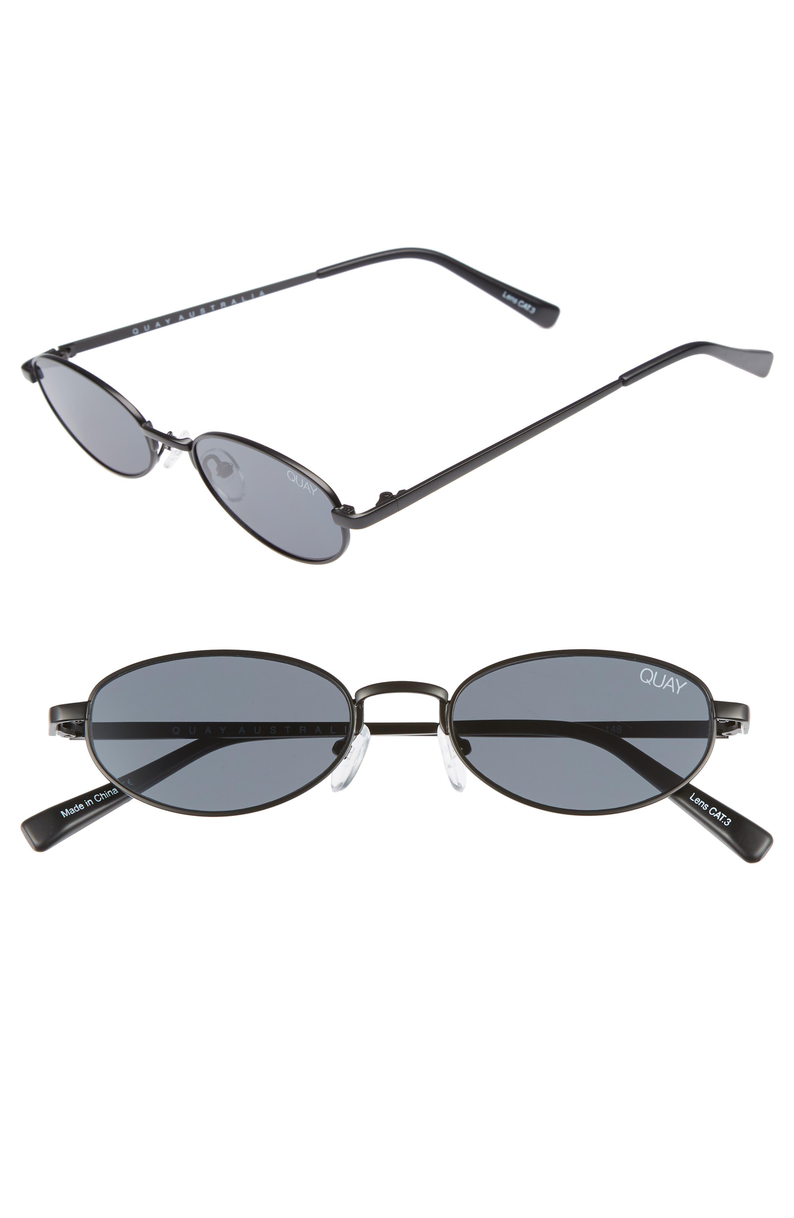 49mm Showdown Oval Sunglasses,                             Main thumbnail 1, color,                             BLACK/ SMOKE