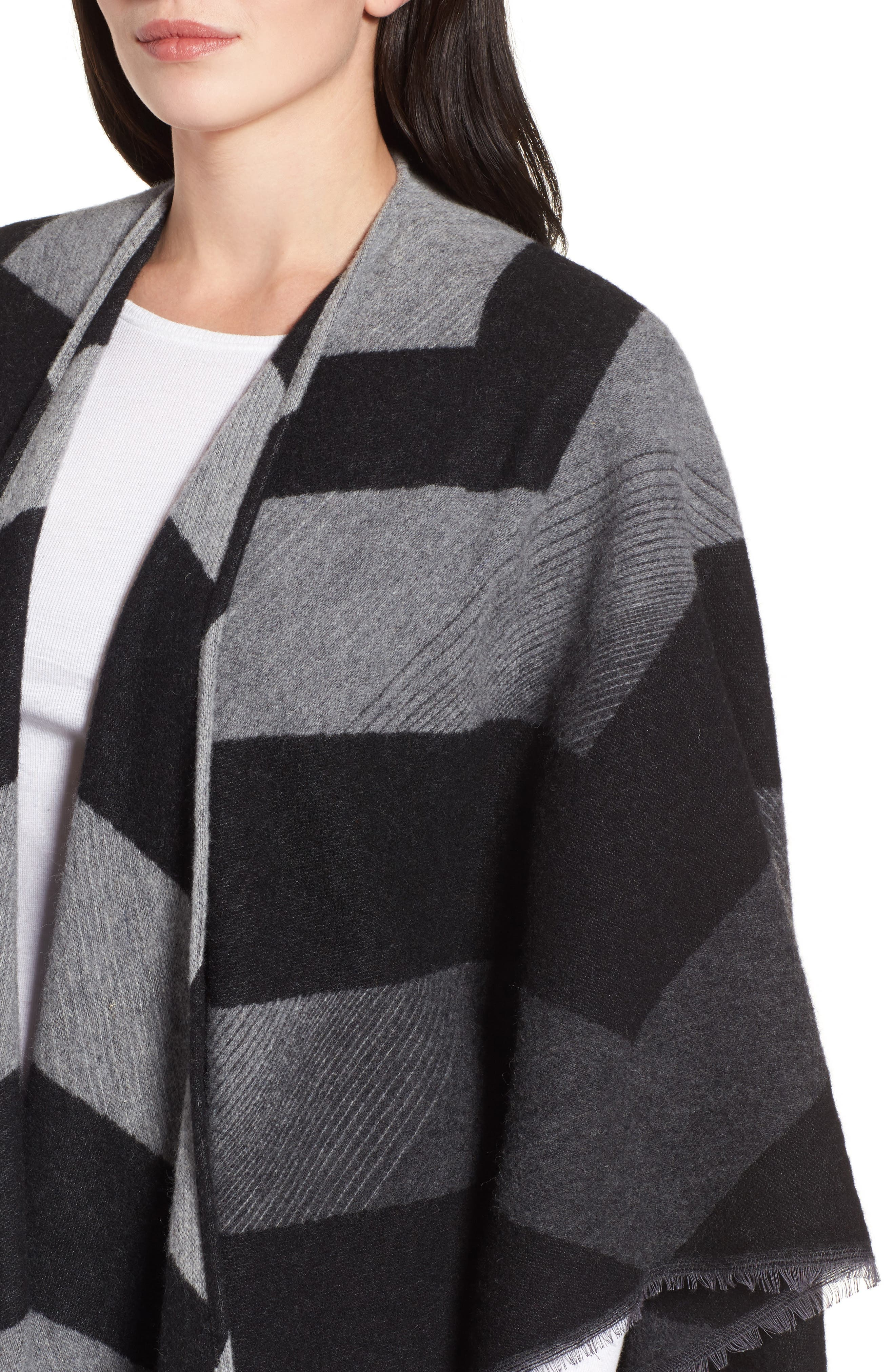 Stripe Wool Blend Poncho Wrap,                             Alternate thumbnail 4, color,                             030