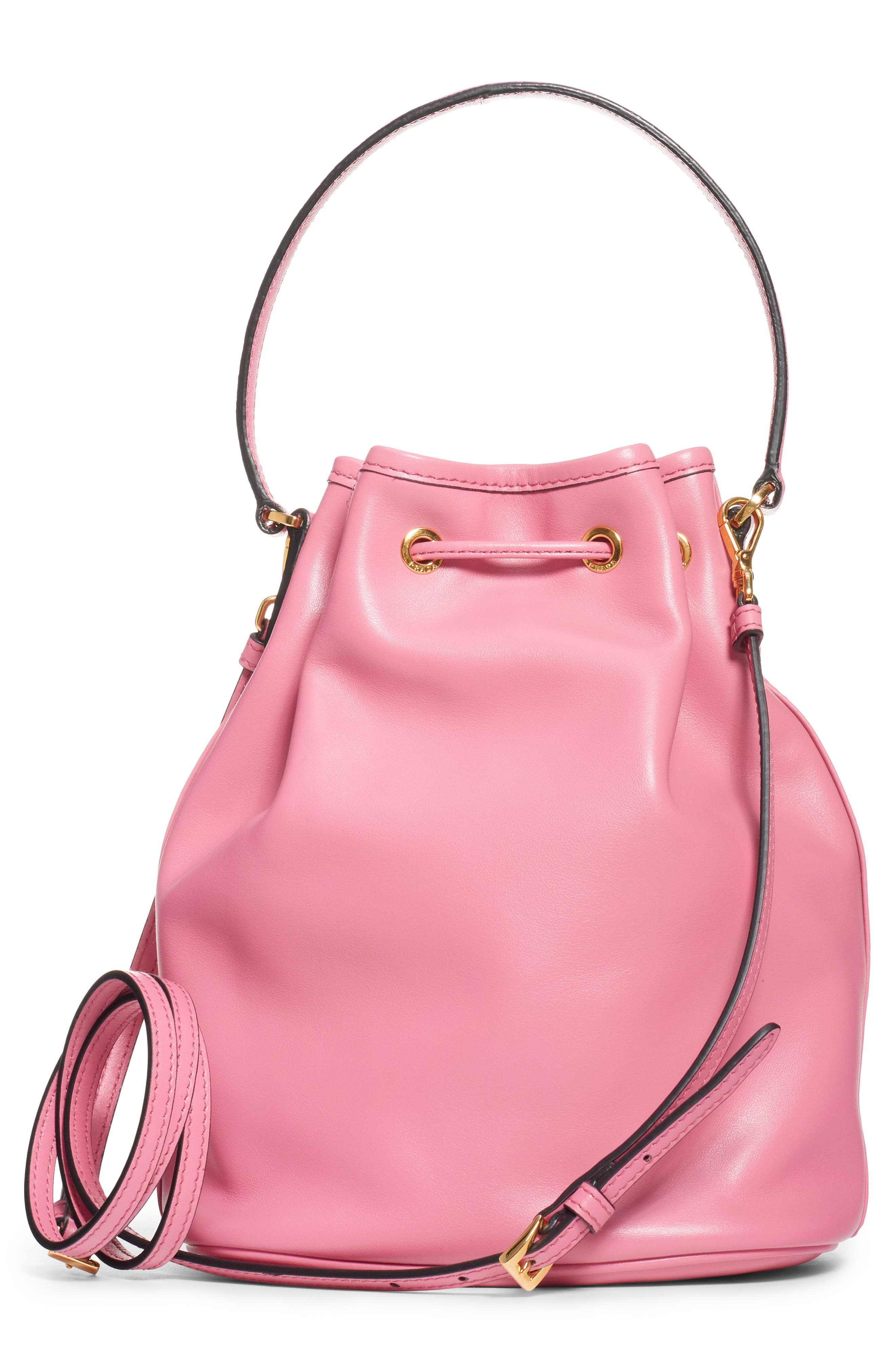 PRADA,                             Leather Bucket Bag,                             Alternate thumbnail 2, color,                             BEGONIA