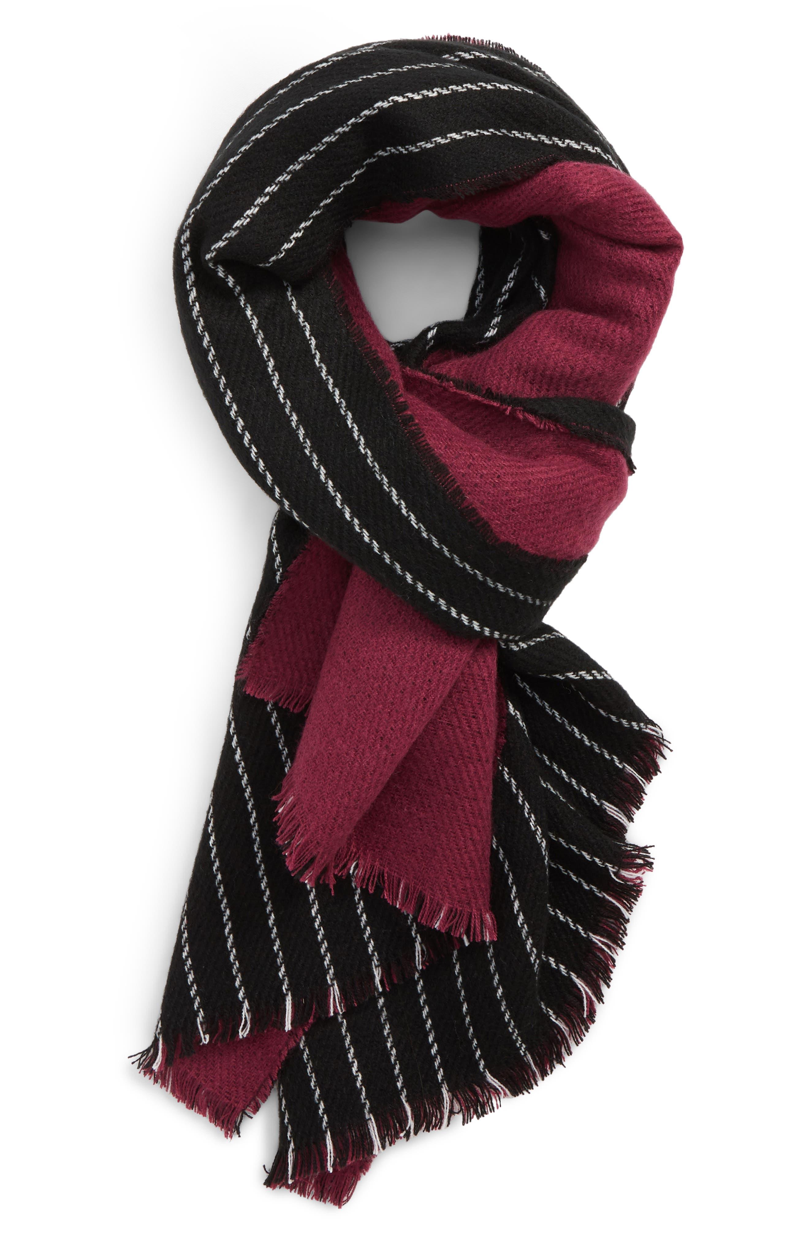 Chain Stitch Scarf,                         Main,                         color, BLACK/ PLUM