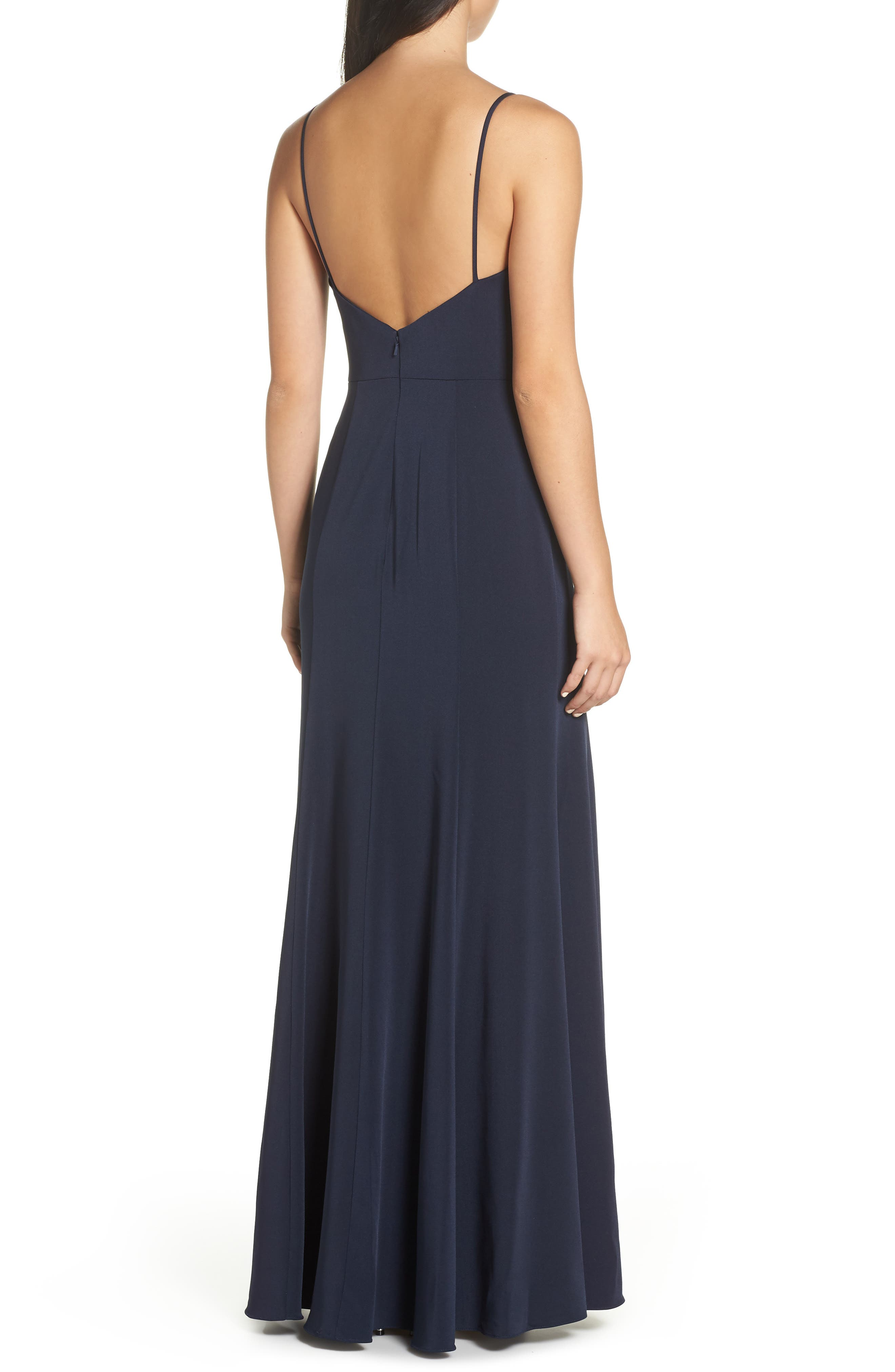 Aniston Luxe Crepe Trumpet Gown,                             Alternate thumbnail 2, color,                             MIDNIGHT