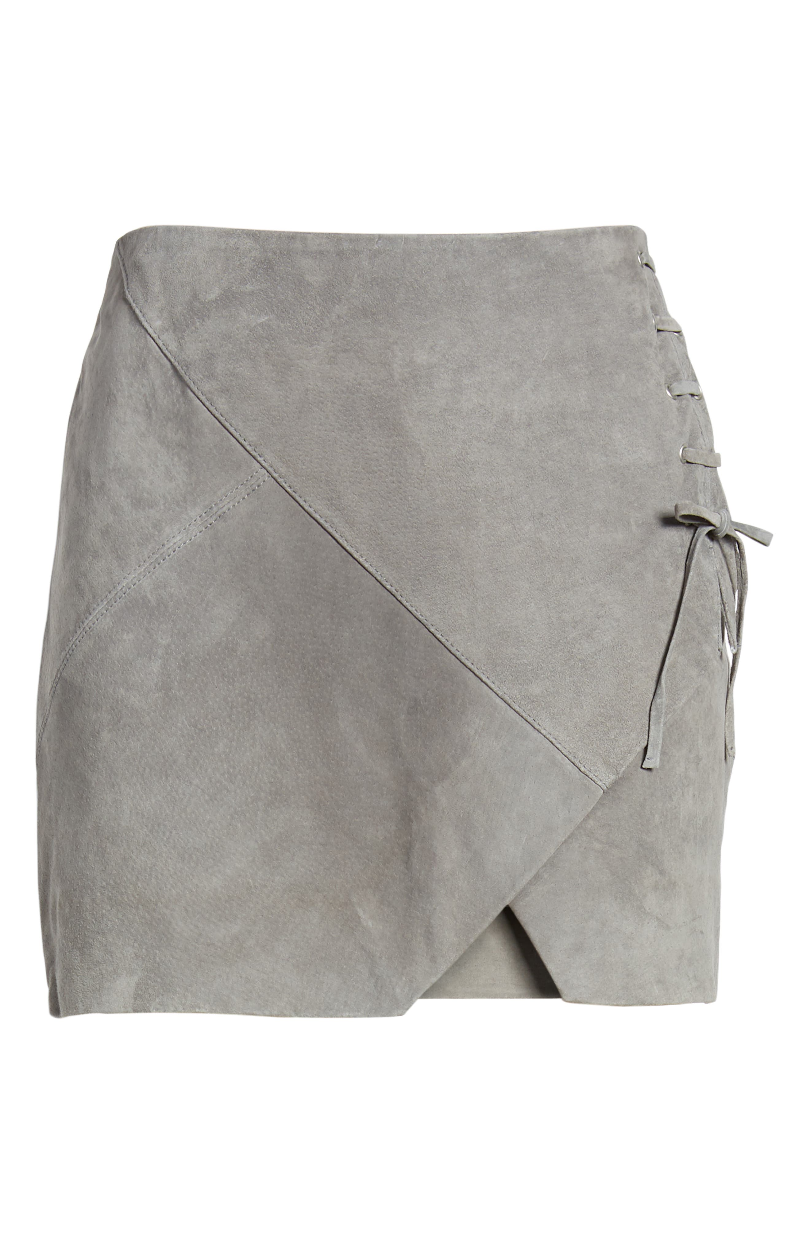 BLANKNYC,                             Lace-Up Suede Miniskirt,                             Alternate thumbnail 6, color,                             SOFT FOG