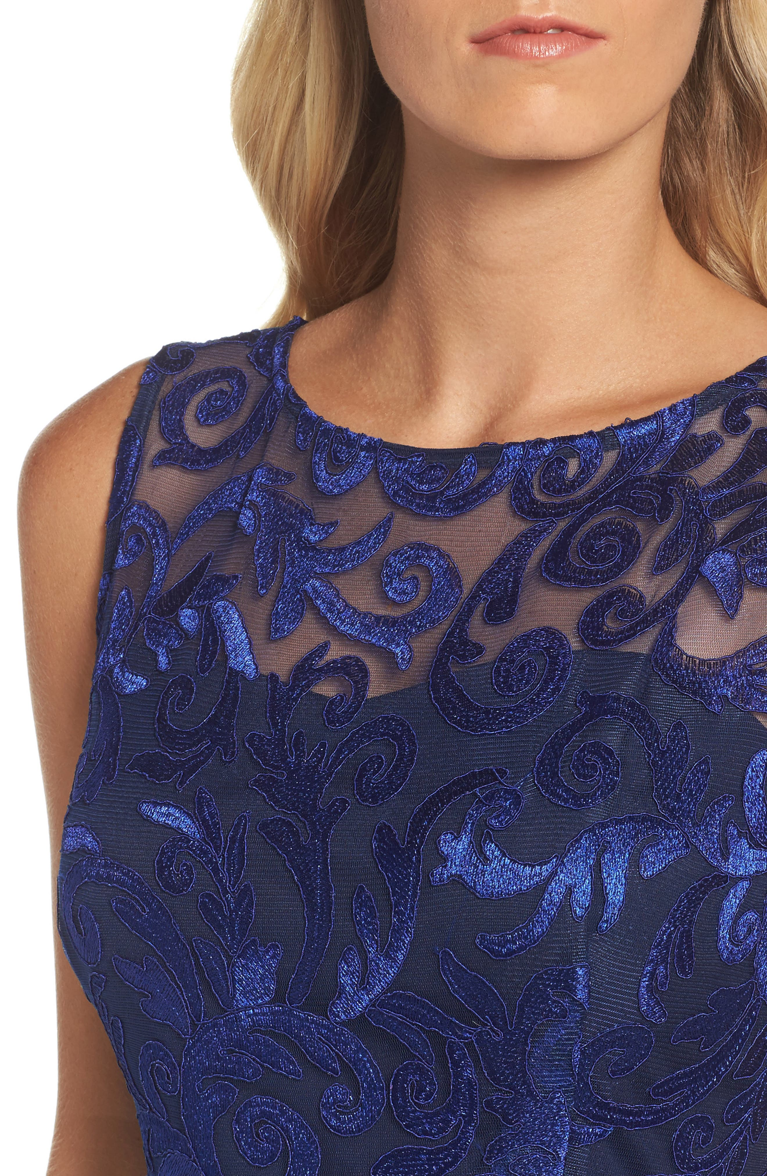 Floral Scroll Embroidered Cocktail Dress,                             Alternate thumbnail 4, color,                             430