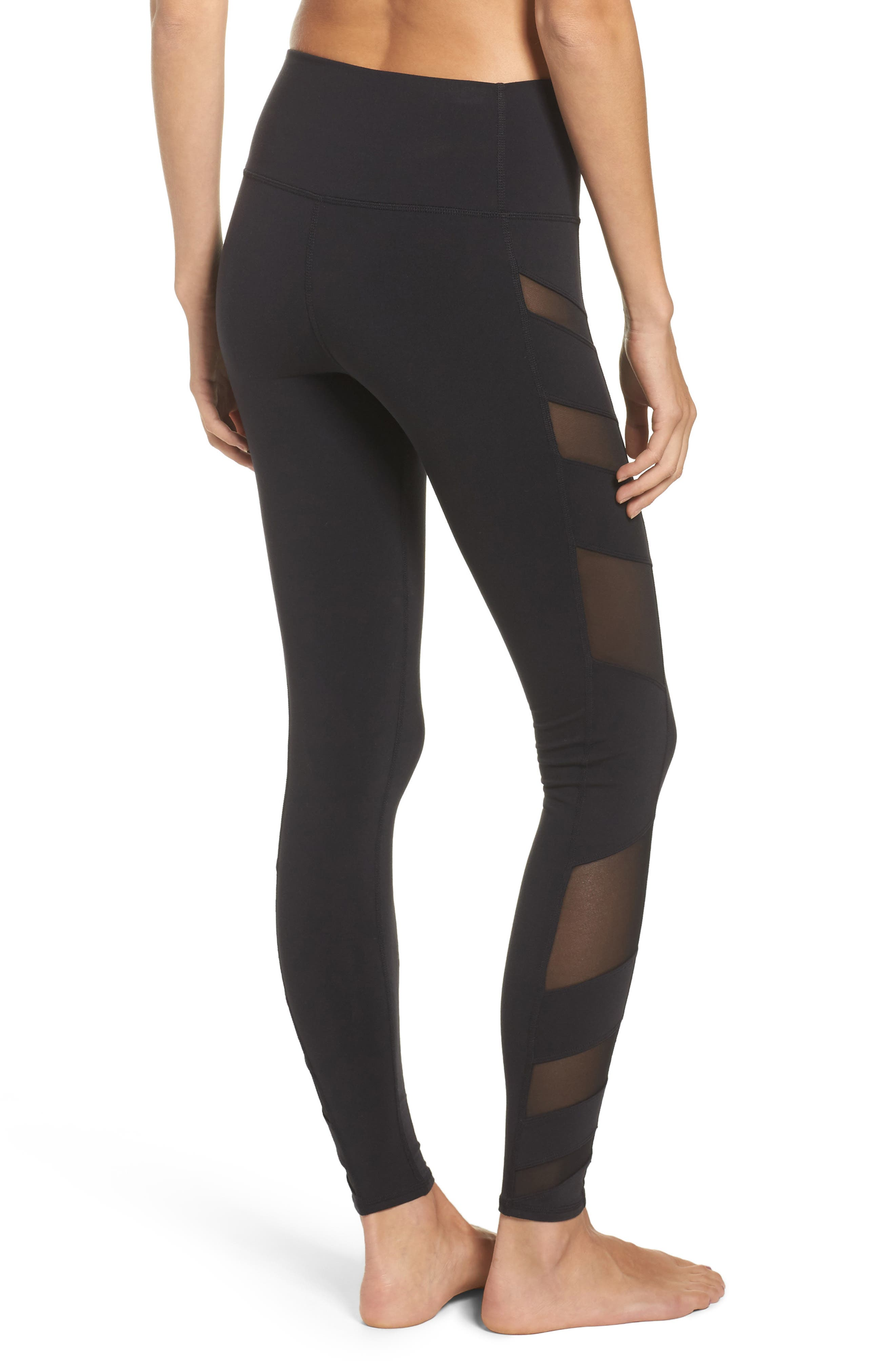 Block High Waist Mesh Inset Leggings,                             Alternate thumbnail 2, color,                             001