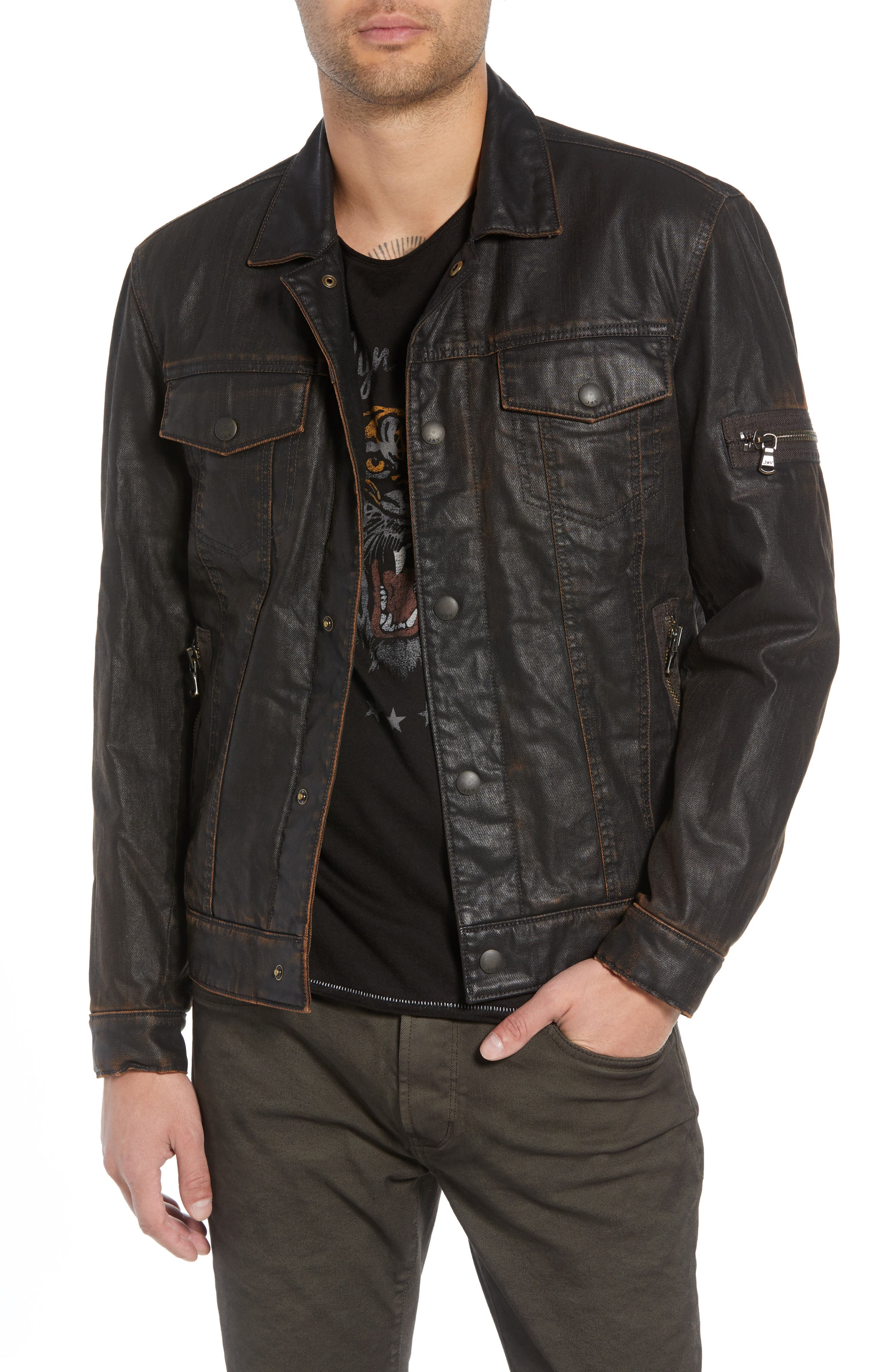 Faux Shearling Lined Coated Trucker Jacket,                         Main,                         color, CHOCOLATE