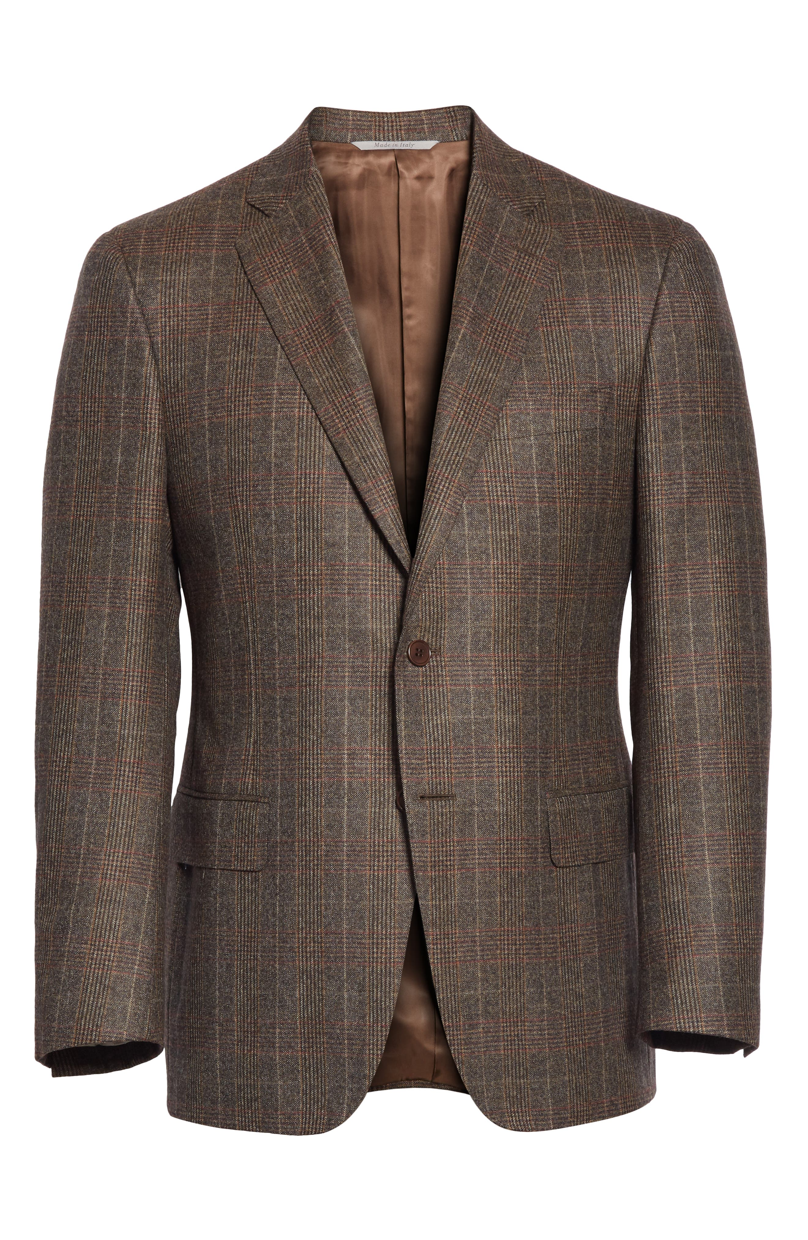 CANALI,                             Classic Fit Plaid Wool Sport Coat,                             Alternate thumbnail 5, color,                             200