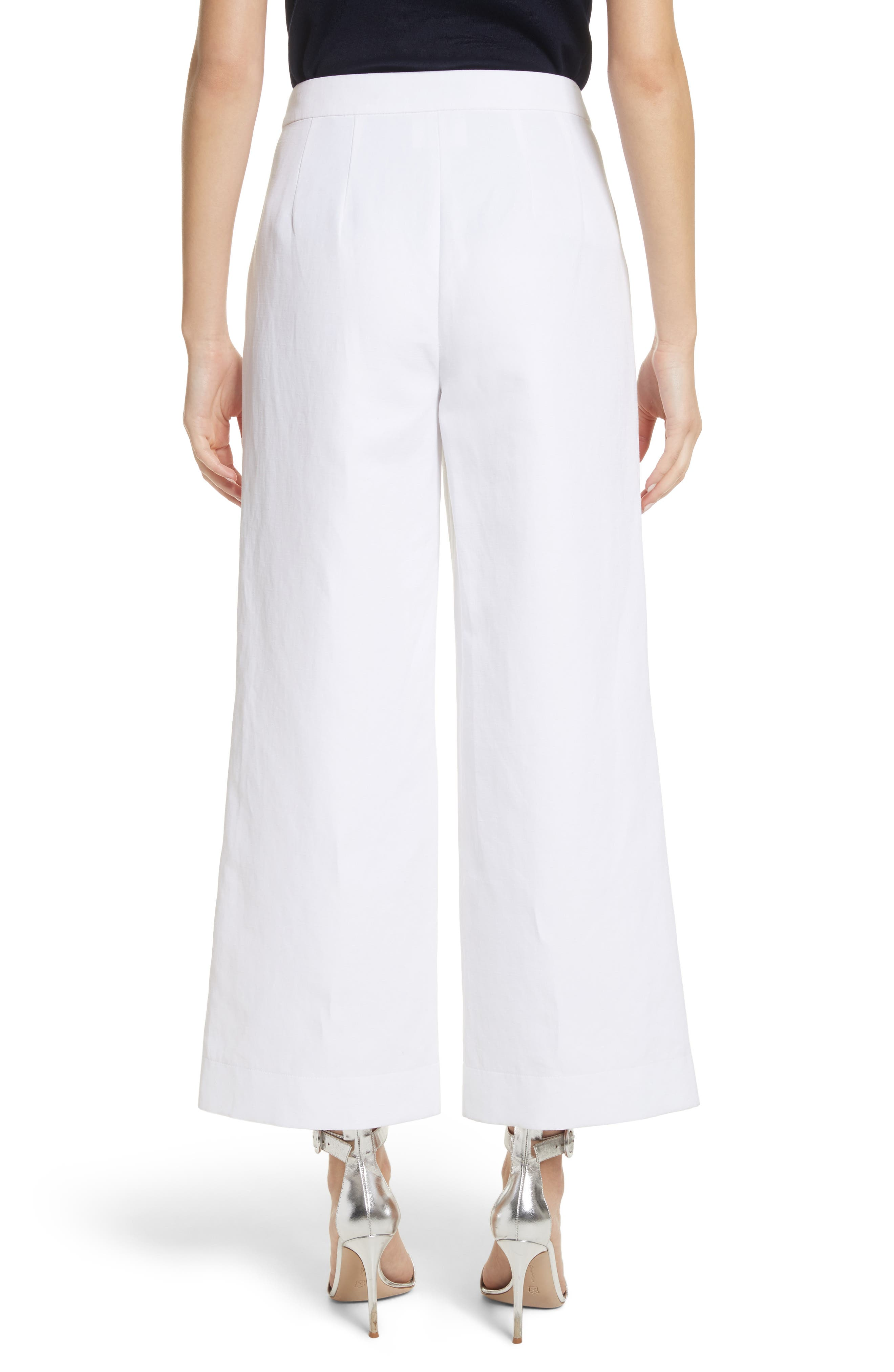 Cotton & Linen Crop Wide Leg Pants,                             Alternate thumbnail 2, color,                             100