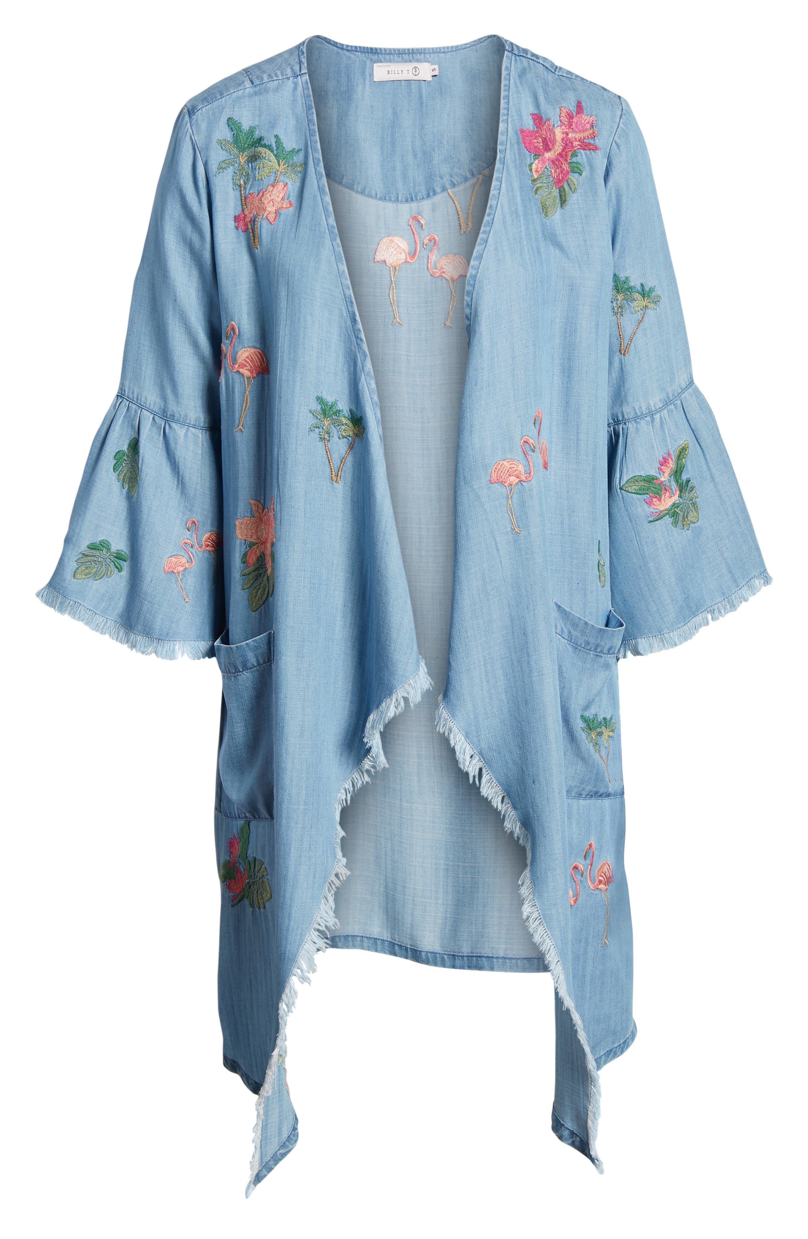Flamingo Embroidered Chambray Kimono,                             Alternate thumbnail 6, color,                             421